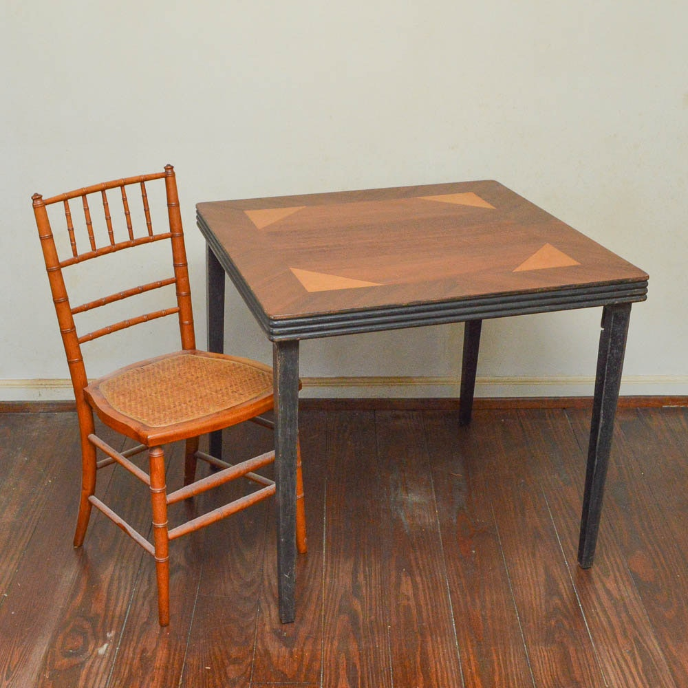 Walnut Veneered Folding Game Table And Bamboo Turned Chair ...