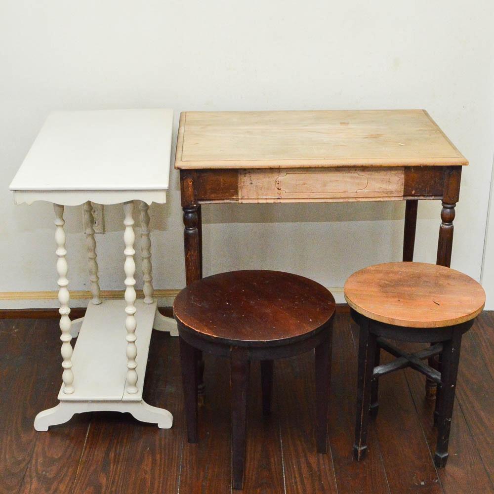 Four Vintage Cottage Style Tables