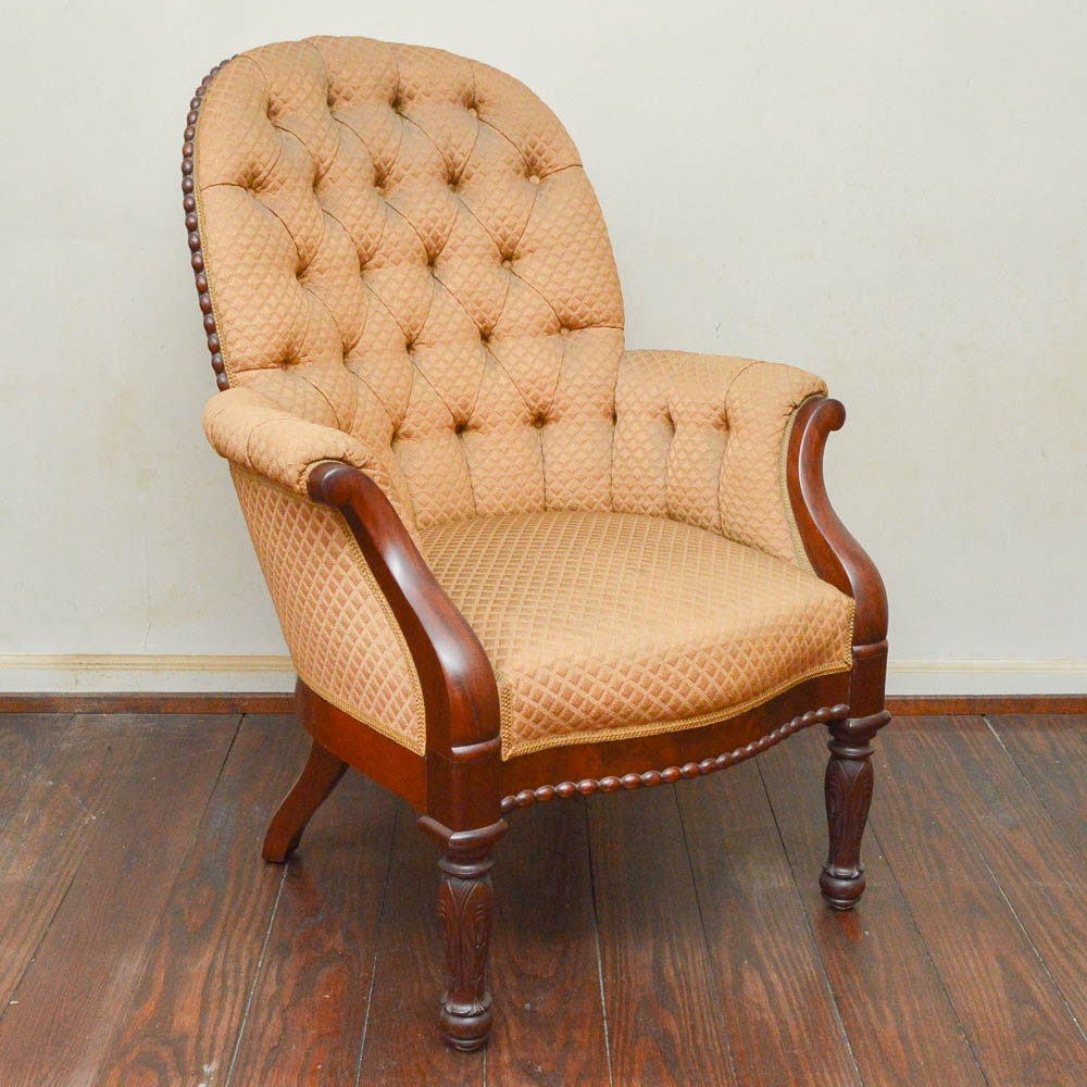 Antique Early Victorian Mahogany Upholstered Armchair