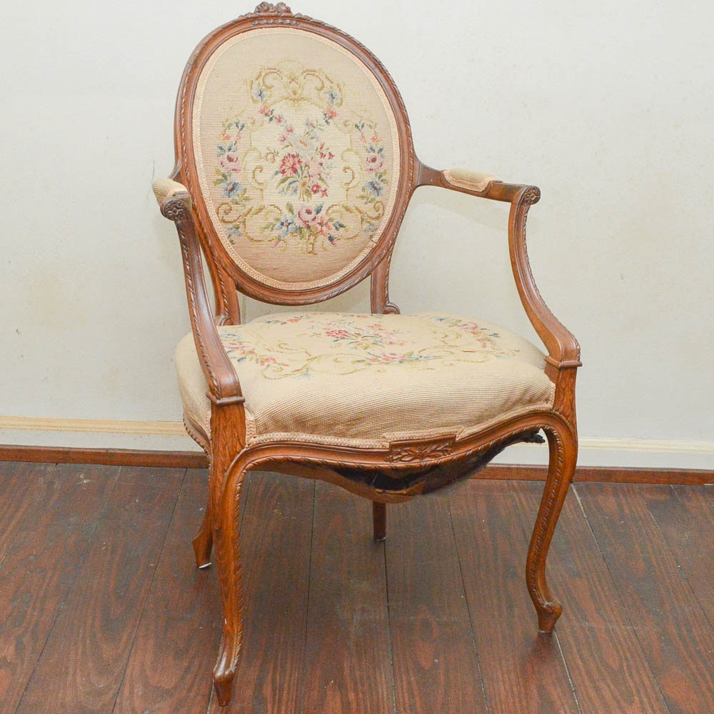 Vintage Carved Hepplewhite Style Needlepoint Arm Chair