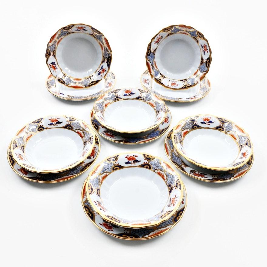 "Six Spode ""Shima Border"" China Fruit Bowls with Under Plates"