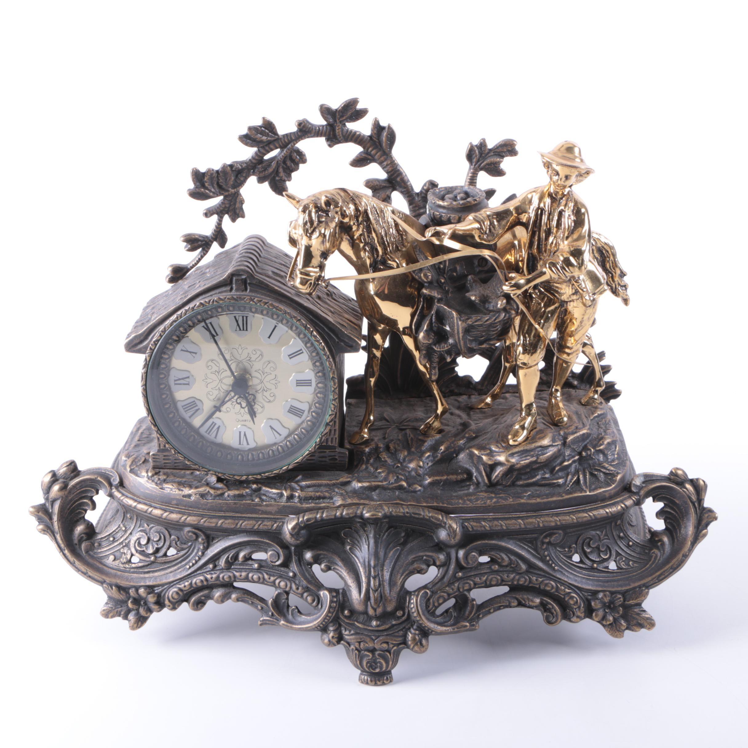 Spelter and Brass Black Forest Figural Quartz Mantel Clock