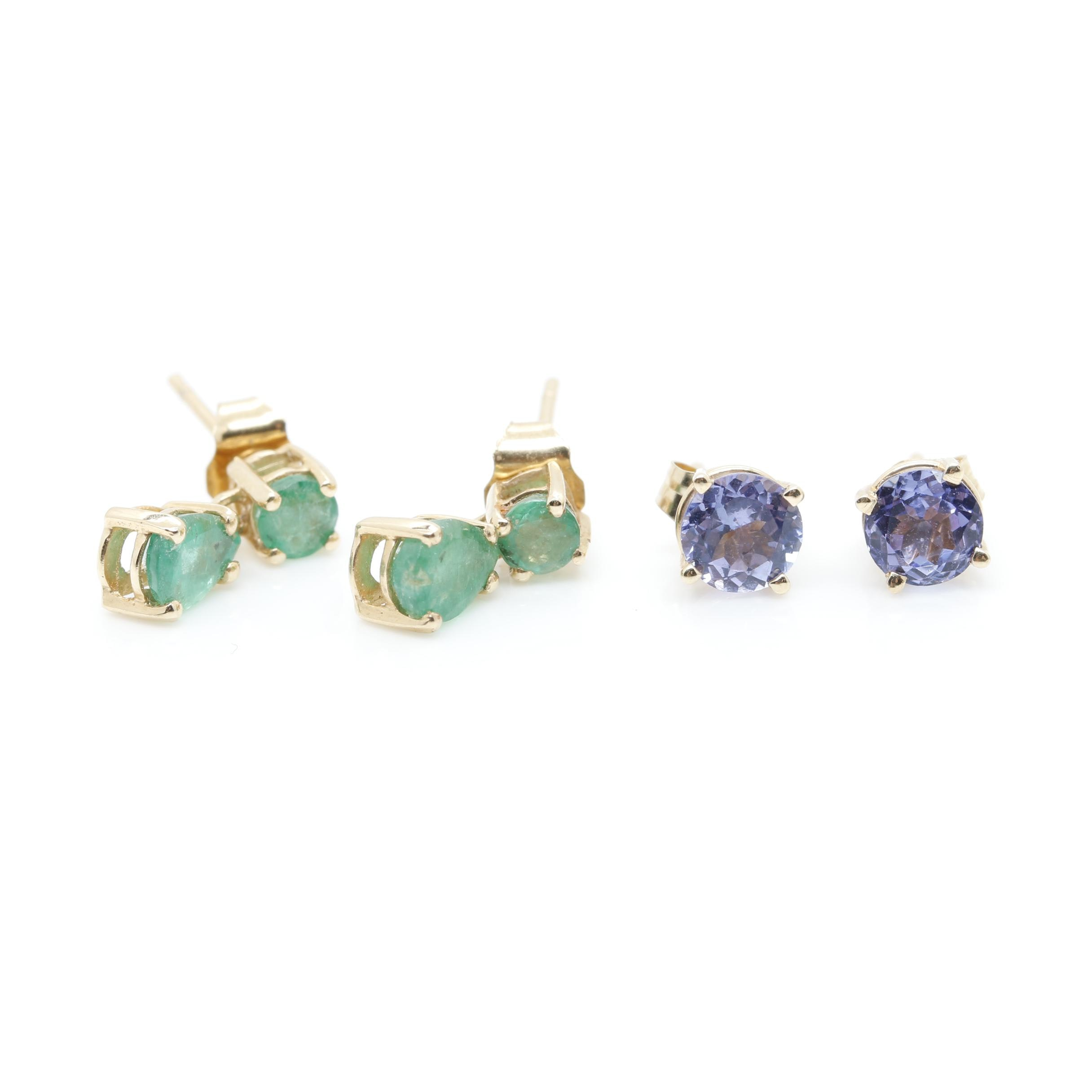 14K Yellow Gold Earring Assortment Including Emerald and Tanzanite