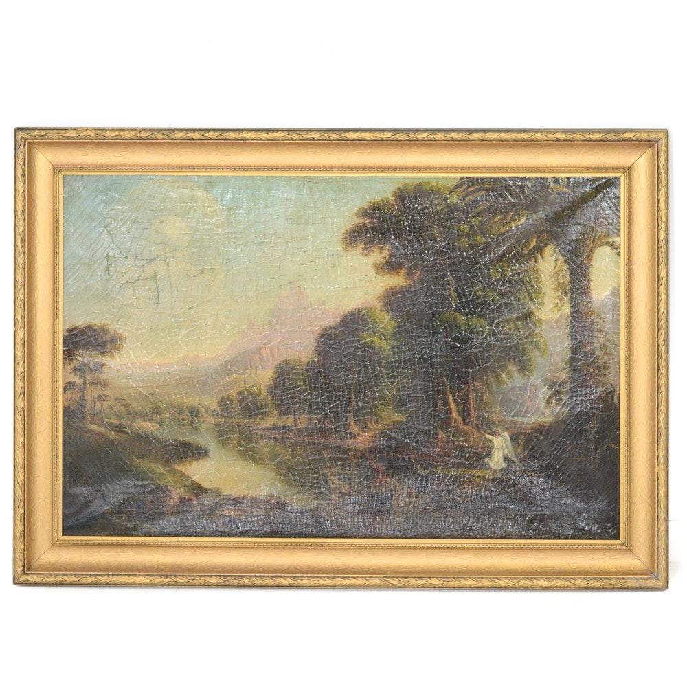 J.G. Kelley 1866 Oil on Canvas Ecclesiastical Landscape