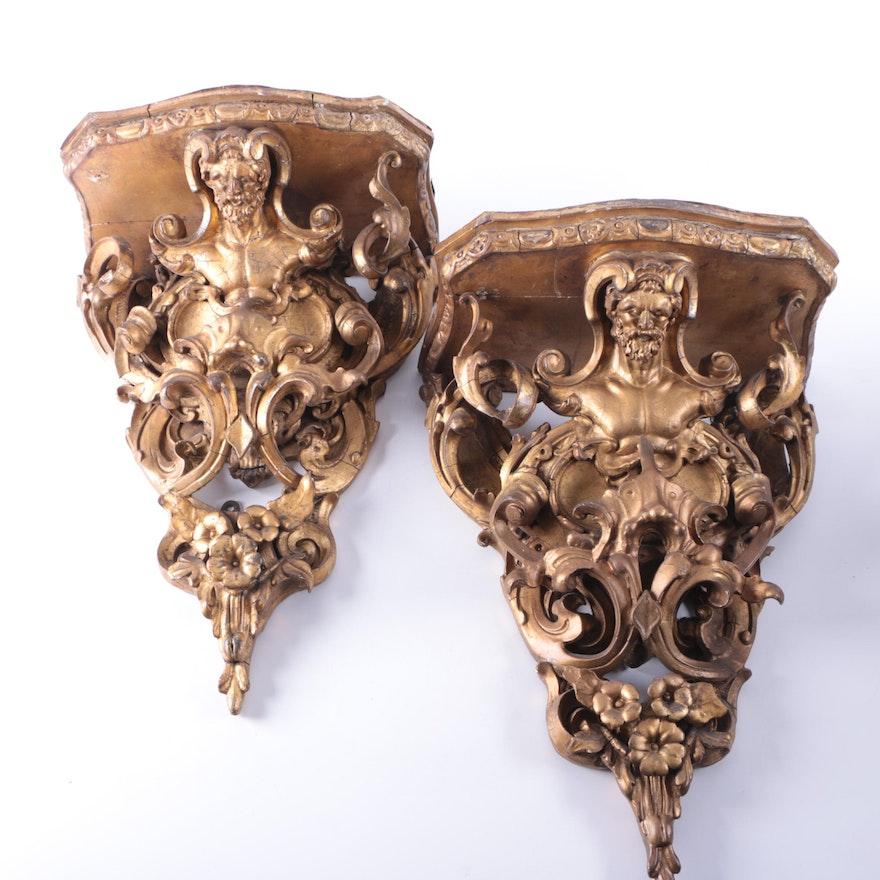 Antique Italian Baroque Gilt Wall Brackets