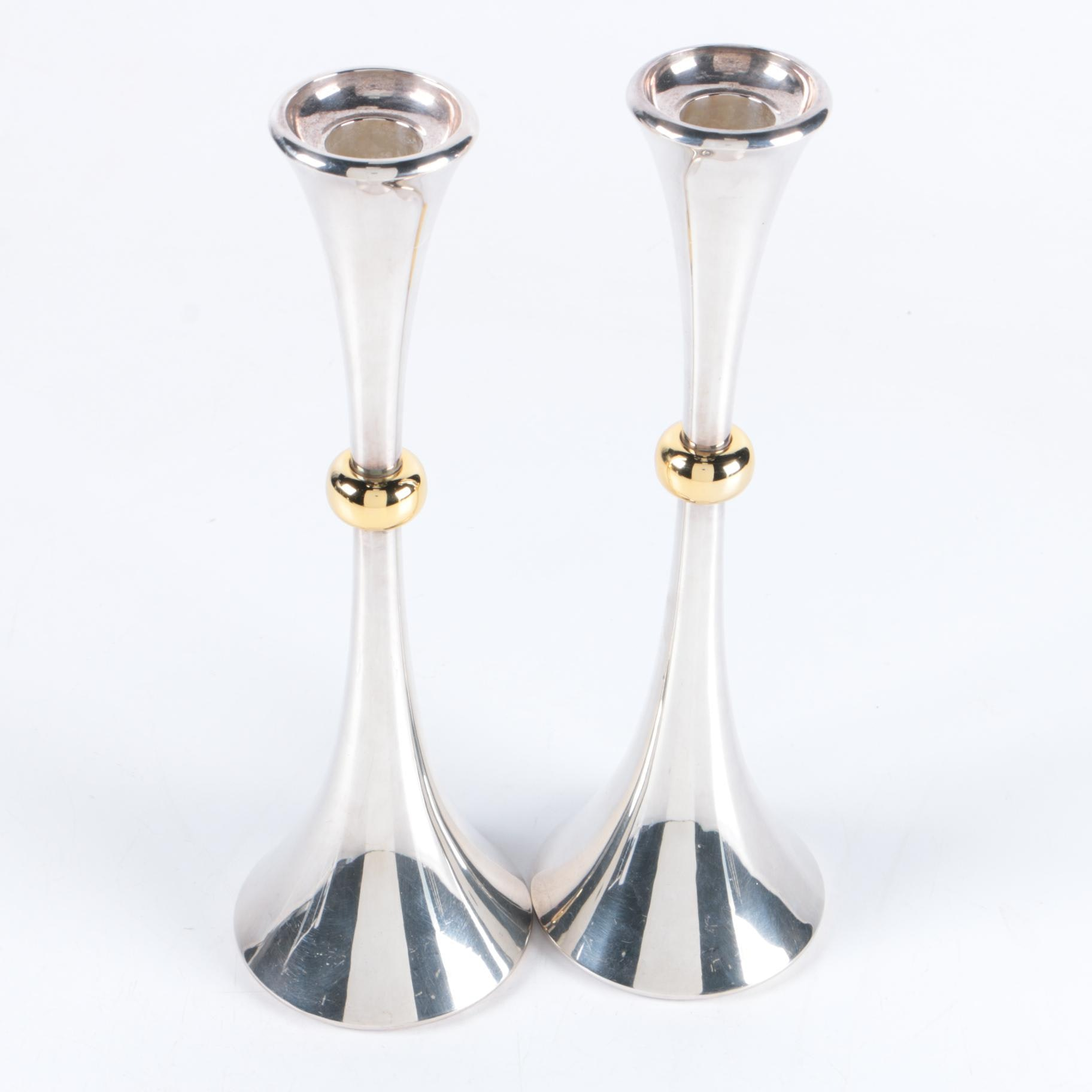 Jens Quistgaard for Dansk Danish Modern Silver Plate and Brass Candlesticks