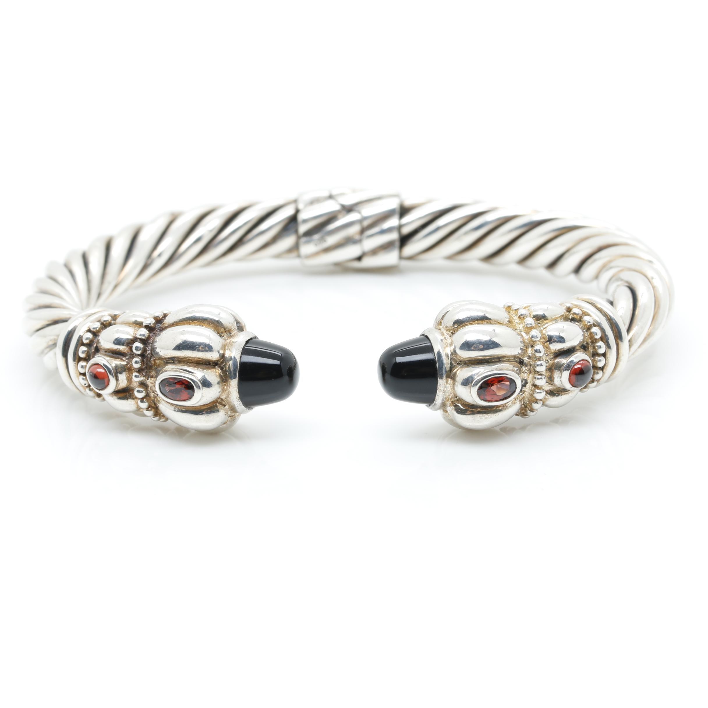 Sterling Silver Black Onyx and Garnet Clamp Cuff Bracelet