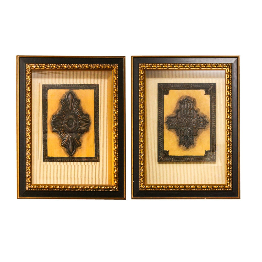Gothic Inspired Cross and Medallion Wall Art in Shadowbox Frames