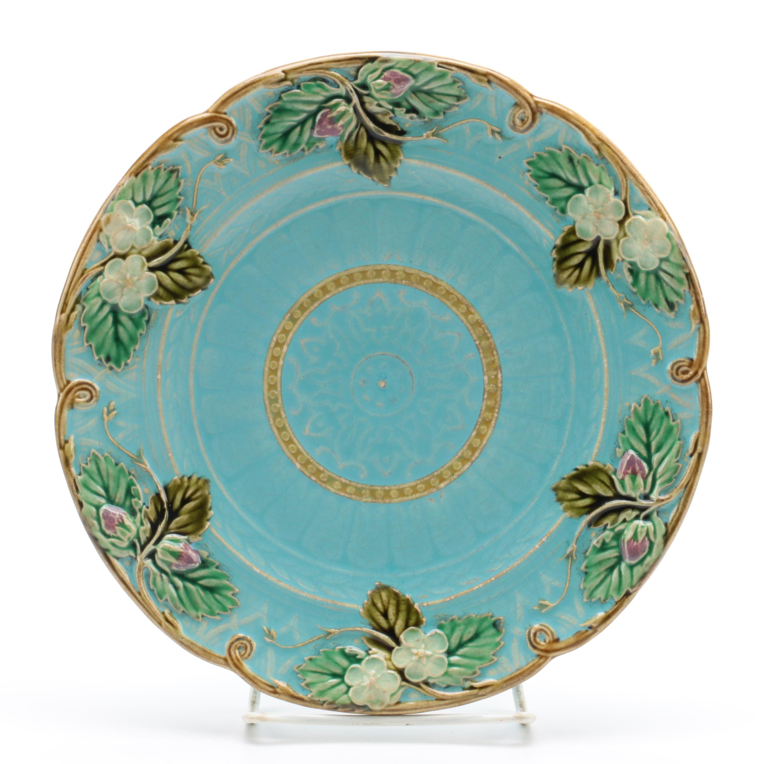 Late 19th Century Sarreguemines French Majolica Plate