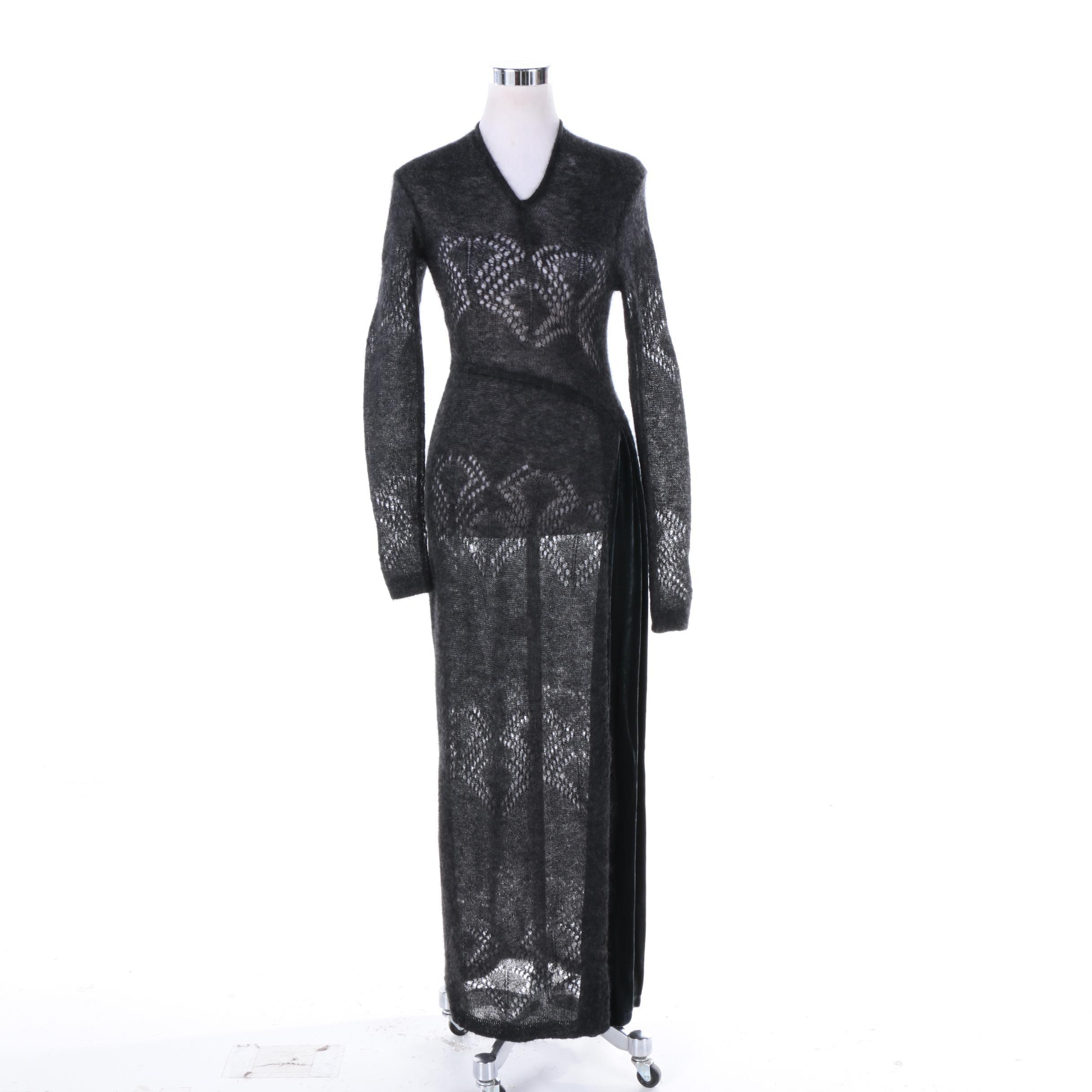 Industria Sheer Black Mohair Blend Knit Dress with Velvet Trim