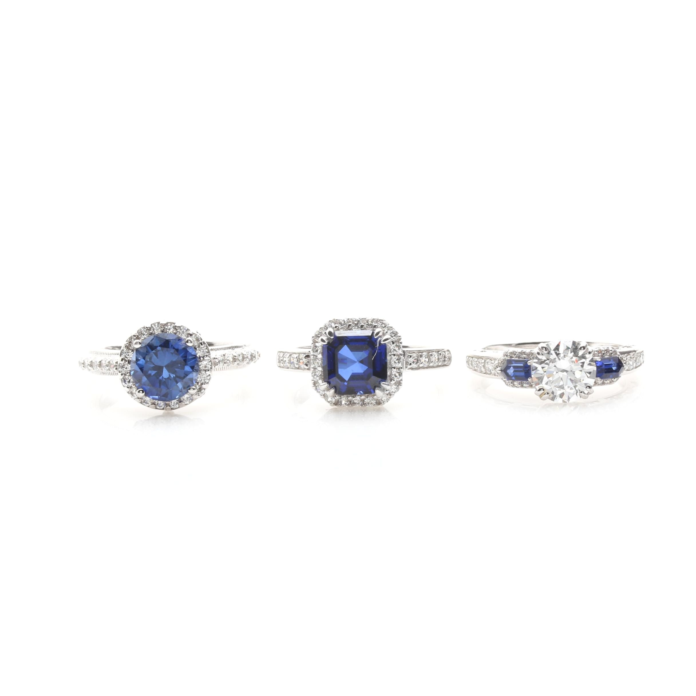 Sterling Silver Synthetic Sapphire and Cubic Zirconia Rings