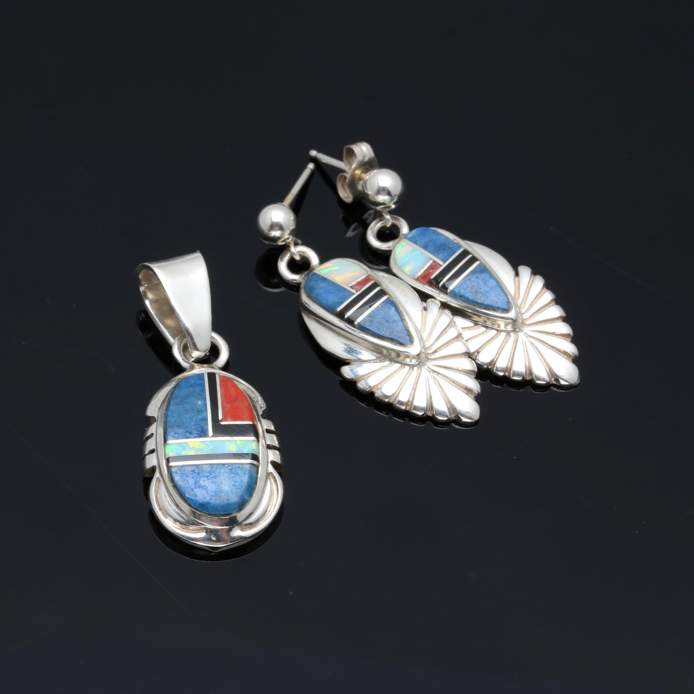 Sterling Silver Southwestern Style Mosaic Inlay Earring and Pendant Set