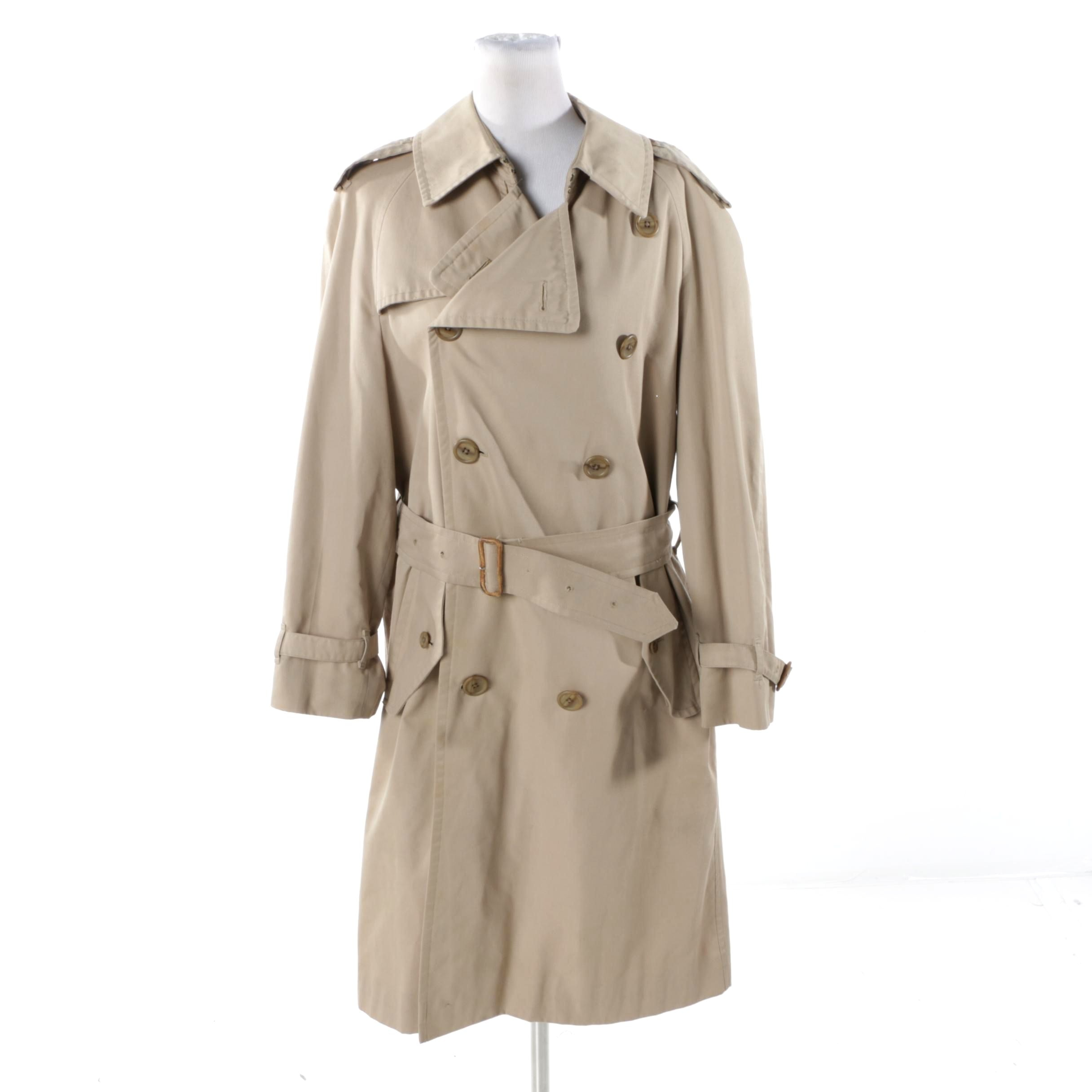 Women's Vintage Burberry Double-Breasted Khaki Trench Coat