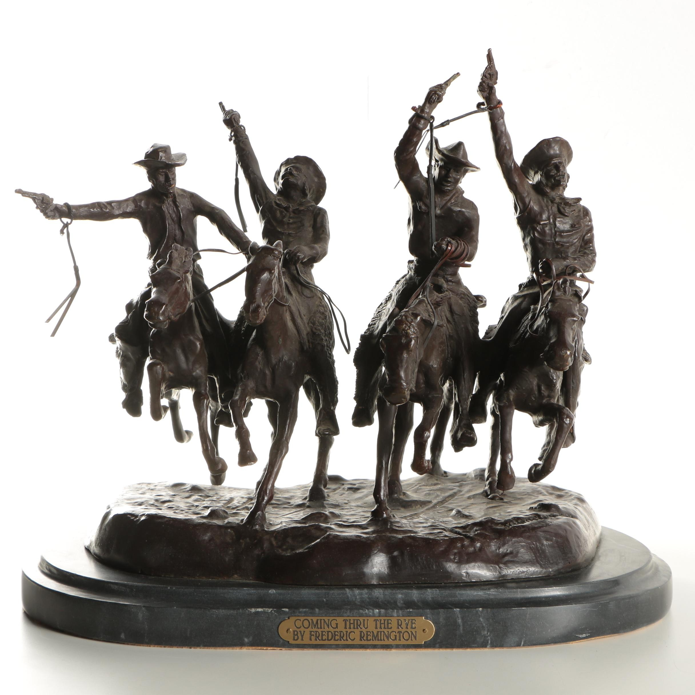 """Copper Alloy Sculpture After Frederic Remington's """"Coming Through the Rye"""""""