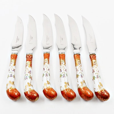 Set of Six Fish Knives with Porcelain Handles, Made in Sheffield, England