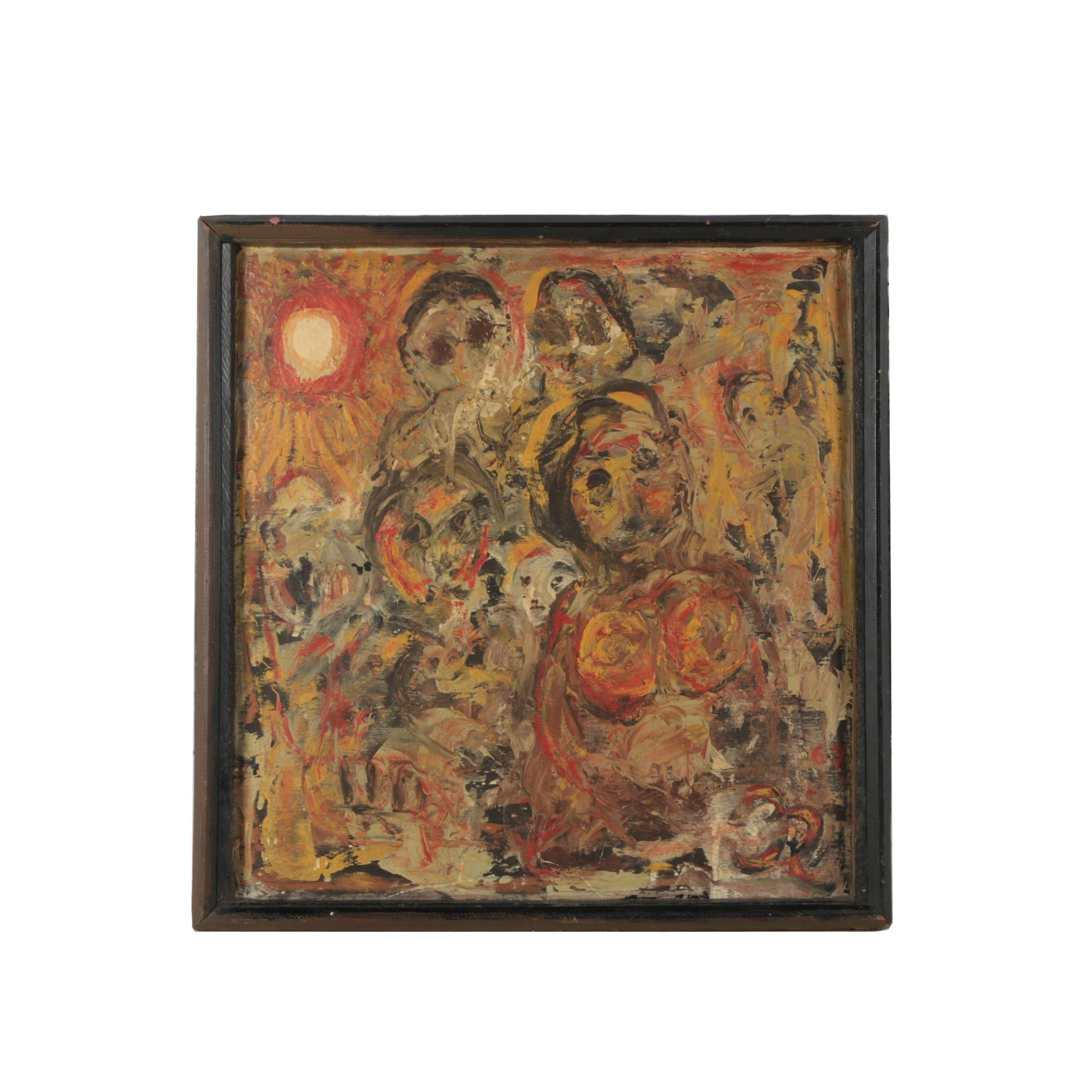 1967 Abstract Oil Painting of Faces