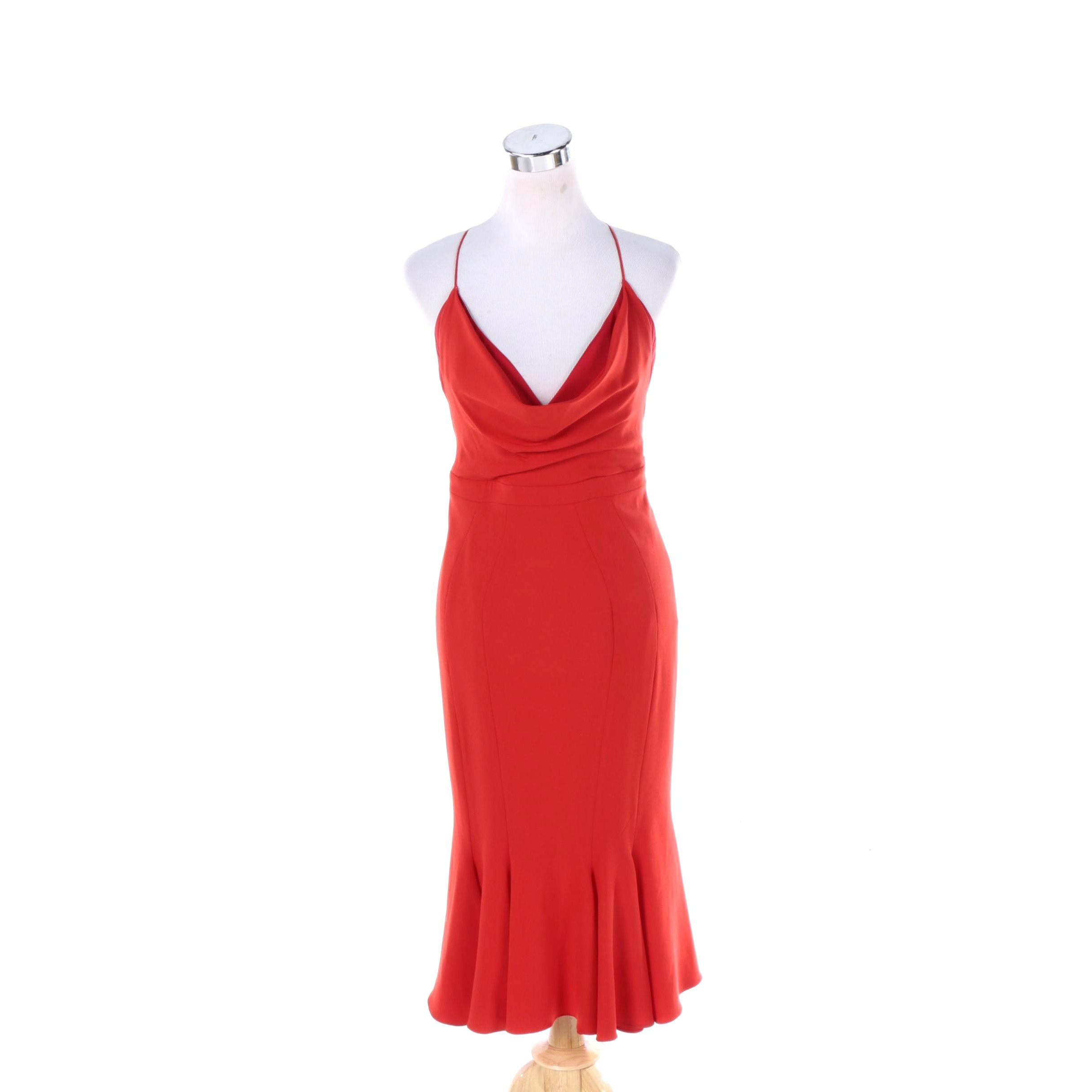 Women's ZAC Zac Posen Scarlet Cowl Neck Flared Sheath Dress