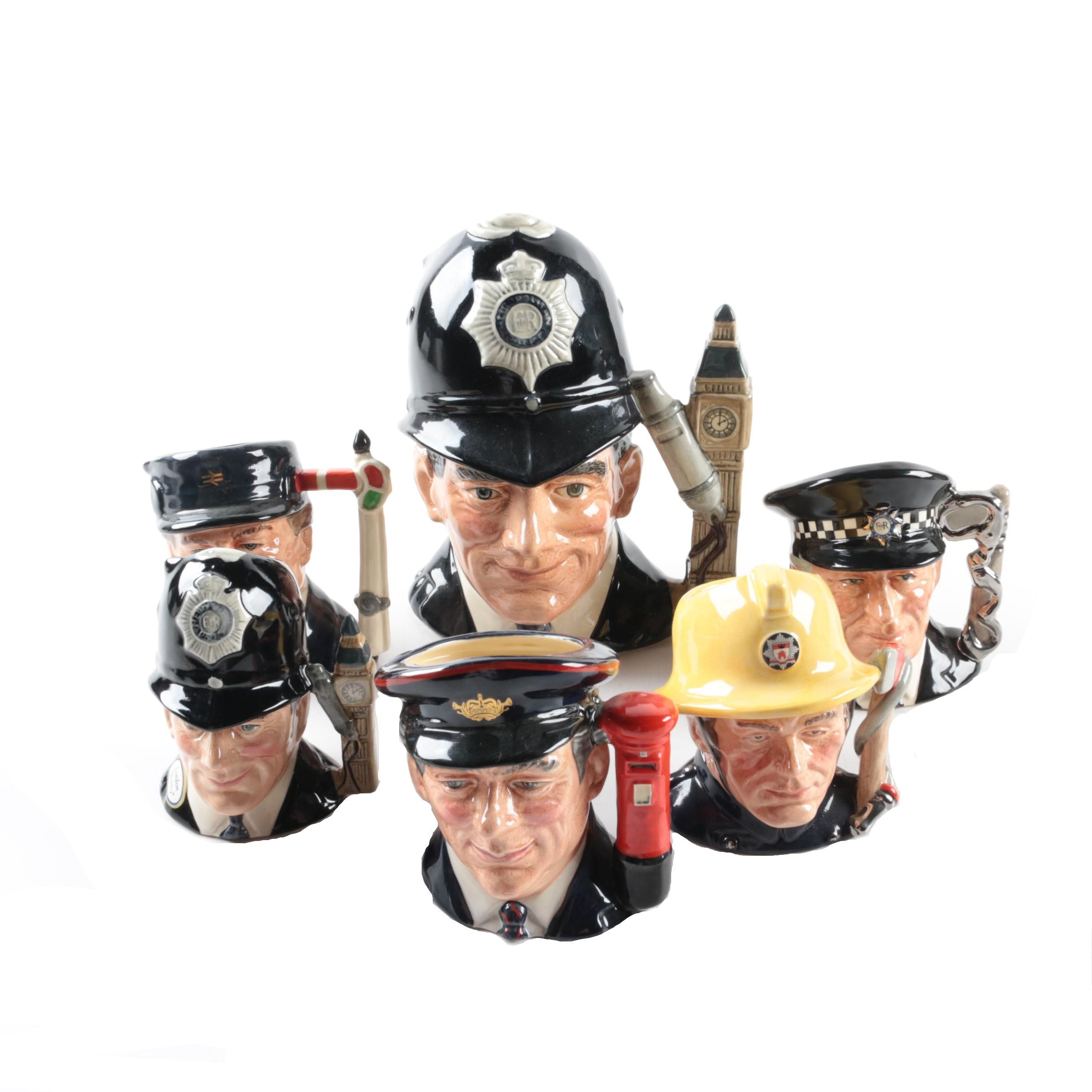 "Royal Doulton Character Mugs Including ""The London Bobby"" and ""The Policeman"""