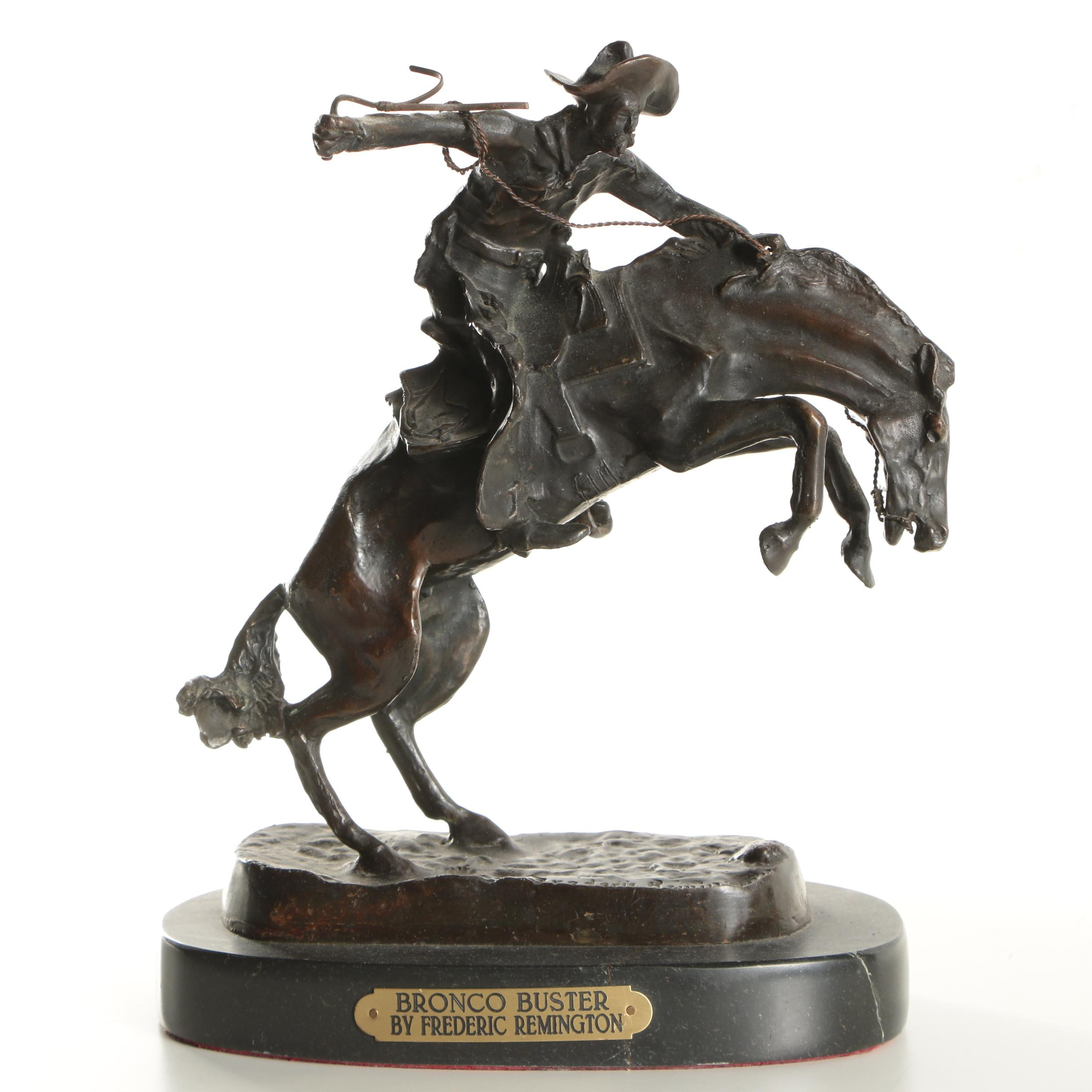 """Copper Alloy Sculpture After Frederic Remington's """"Bronco Buster"""""""
