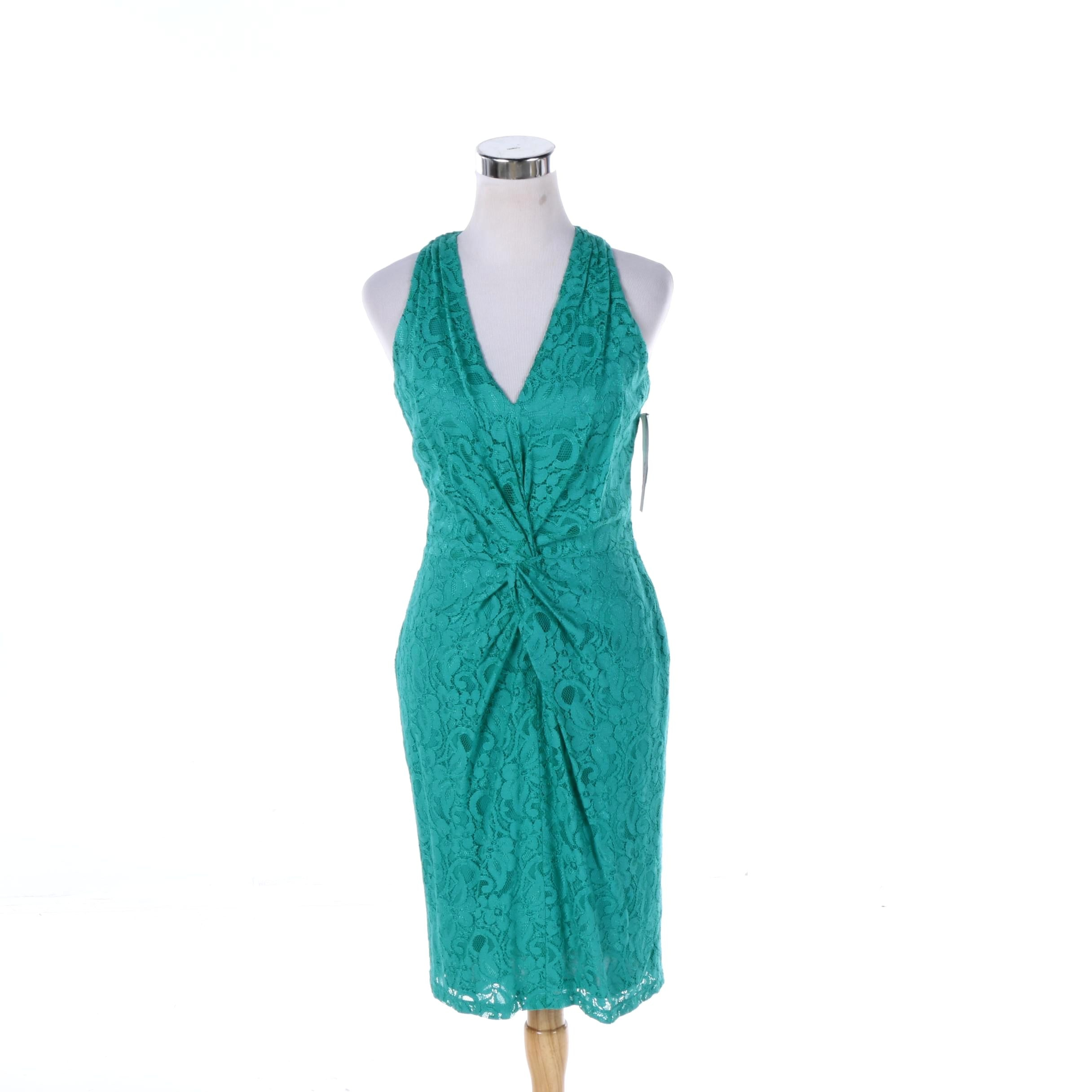 David Meister Sleeveless Turquoise Lace Dress