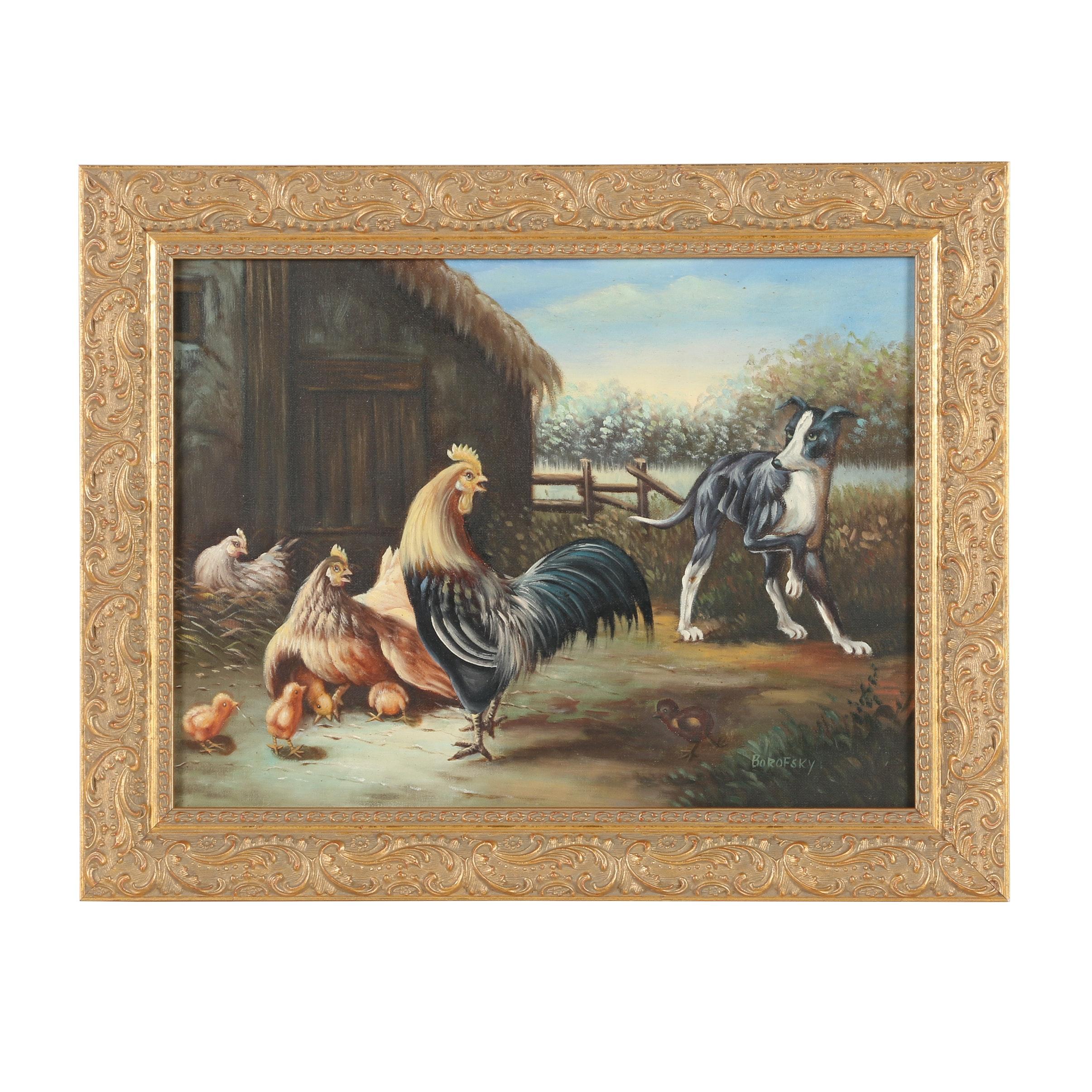Borofsky Oil Painting of Farm Animals