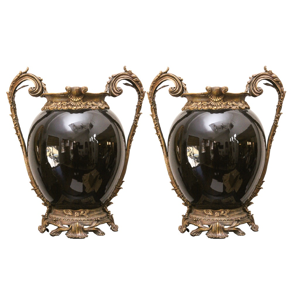 Matching Decorative Brass and Ceramic Urns