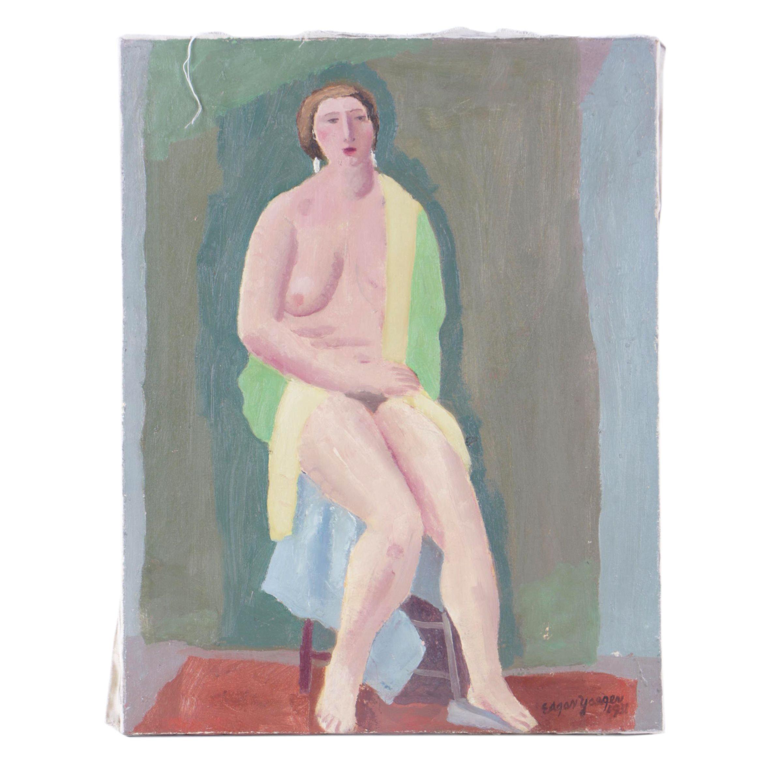 Edgar Yaeger Oil Painting of a Nude Figure