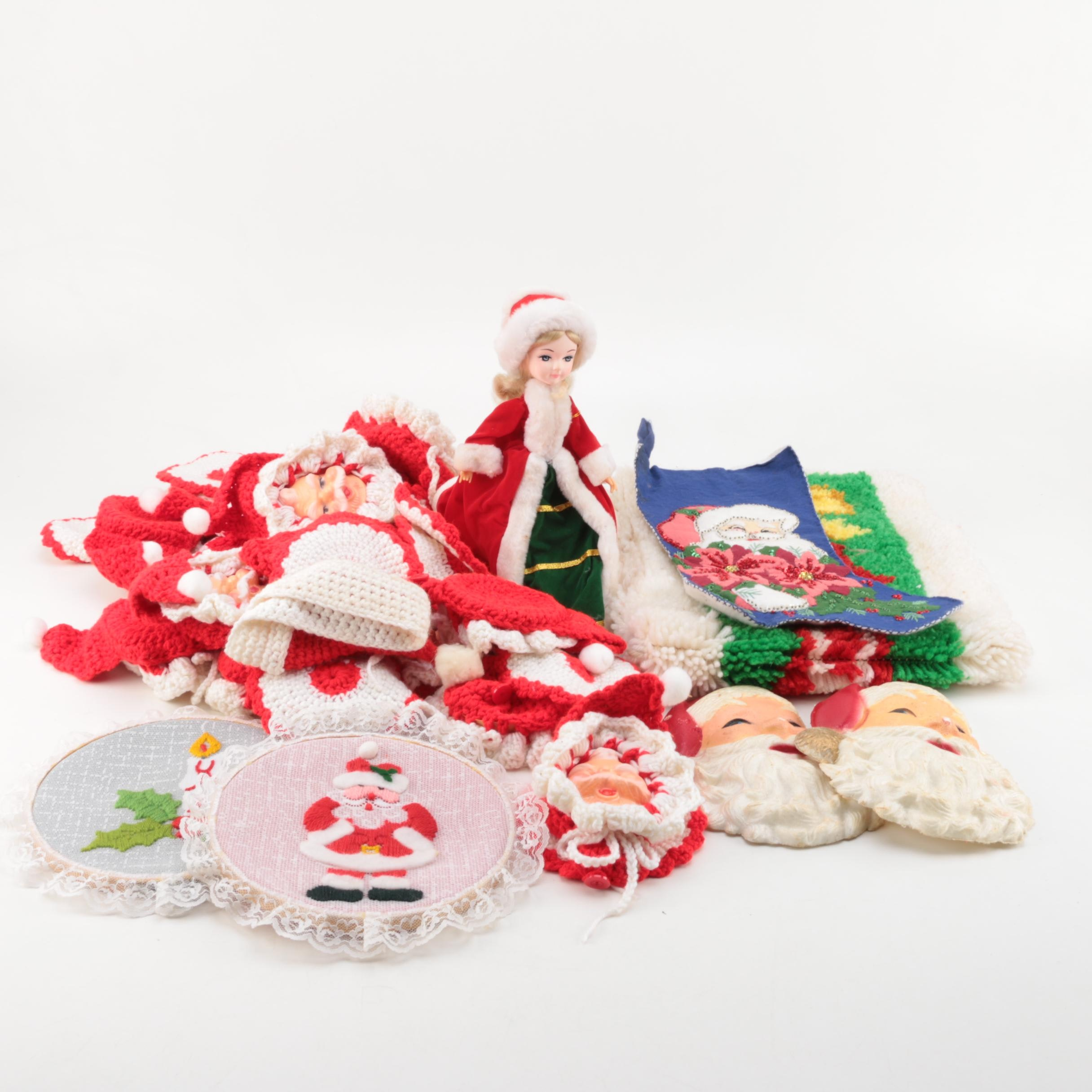 Vintage Christmas Musical Figurine and Crocheted Ornaments