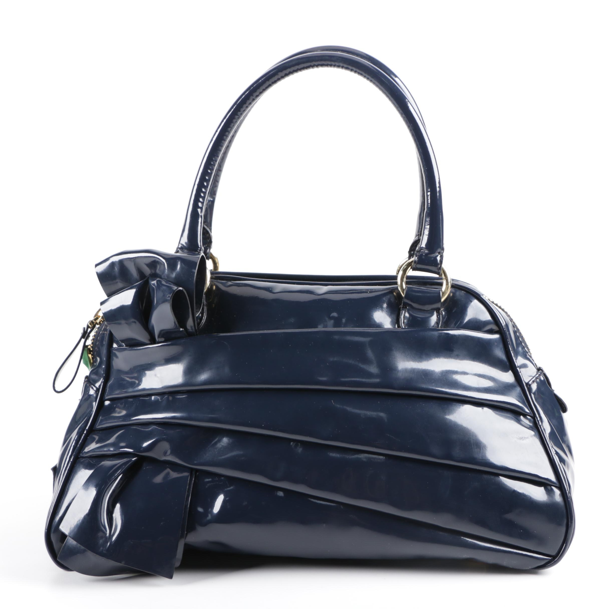 Valentino Navy Patent Lacca Leather Bow Bowling Bag