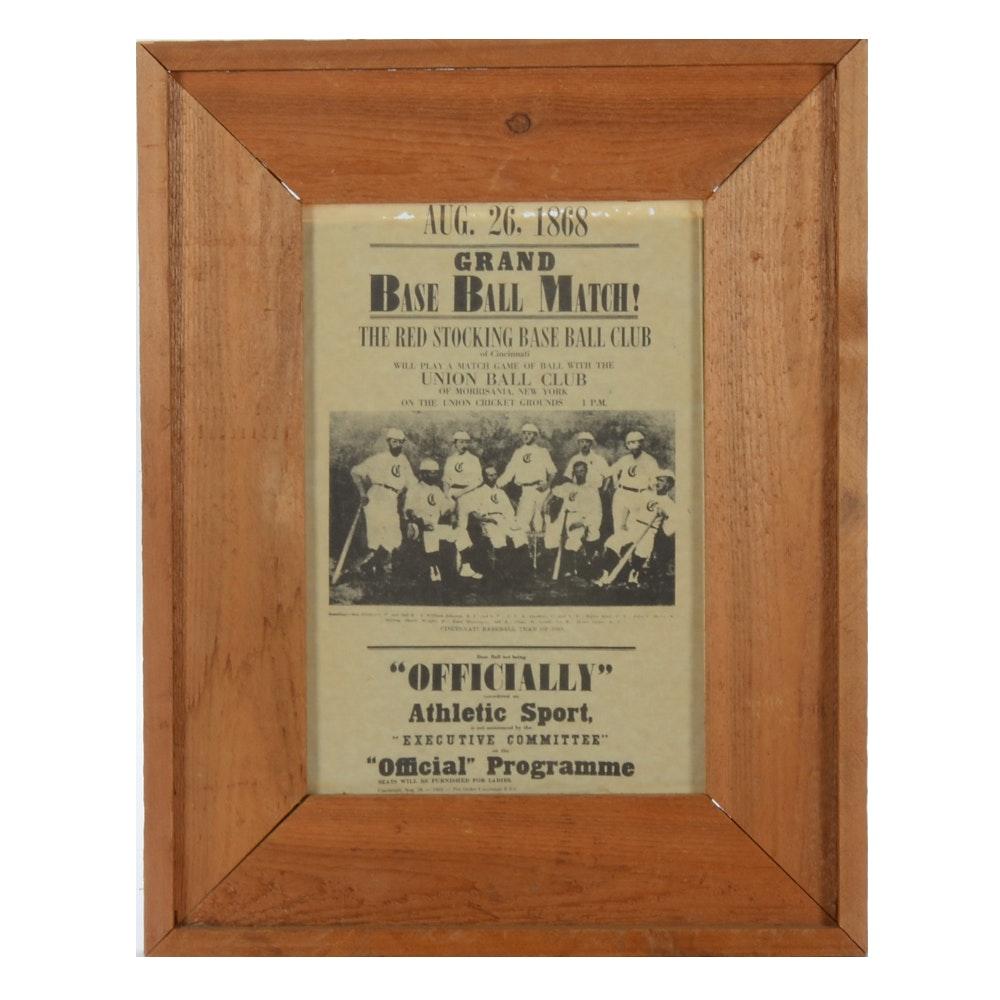 Cincinnati Red Stockings 1868 Broadsheet Reproduction Print