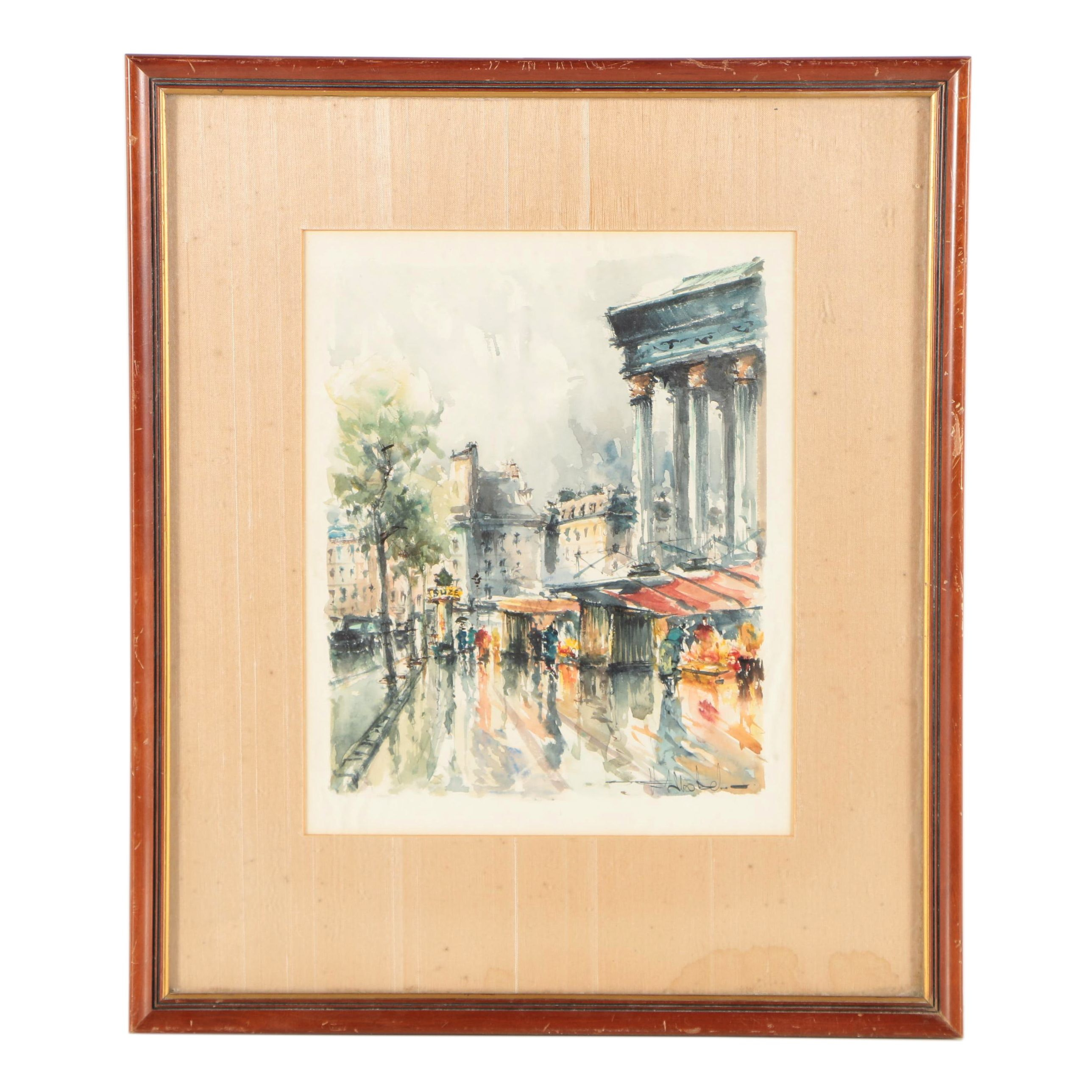 Mid 20th Century Watercolor Painting of European Scene
