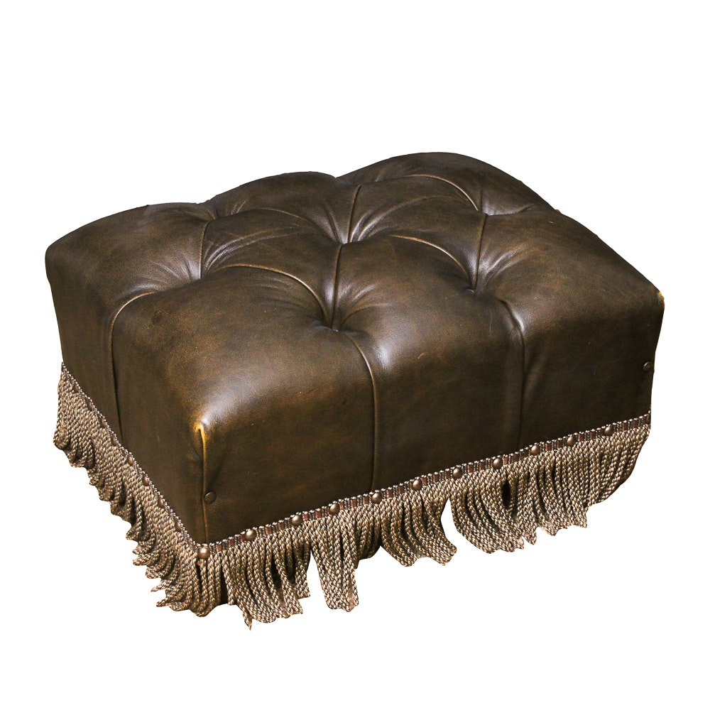 Leather Tufted Ottoman with Fringe