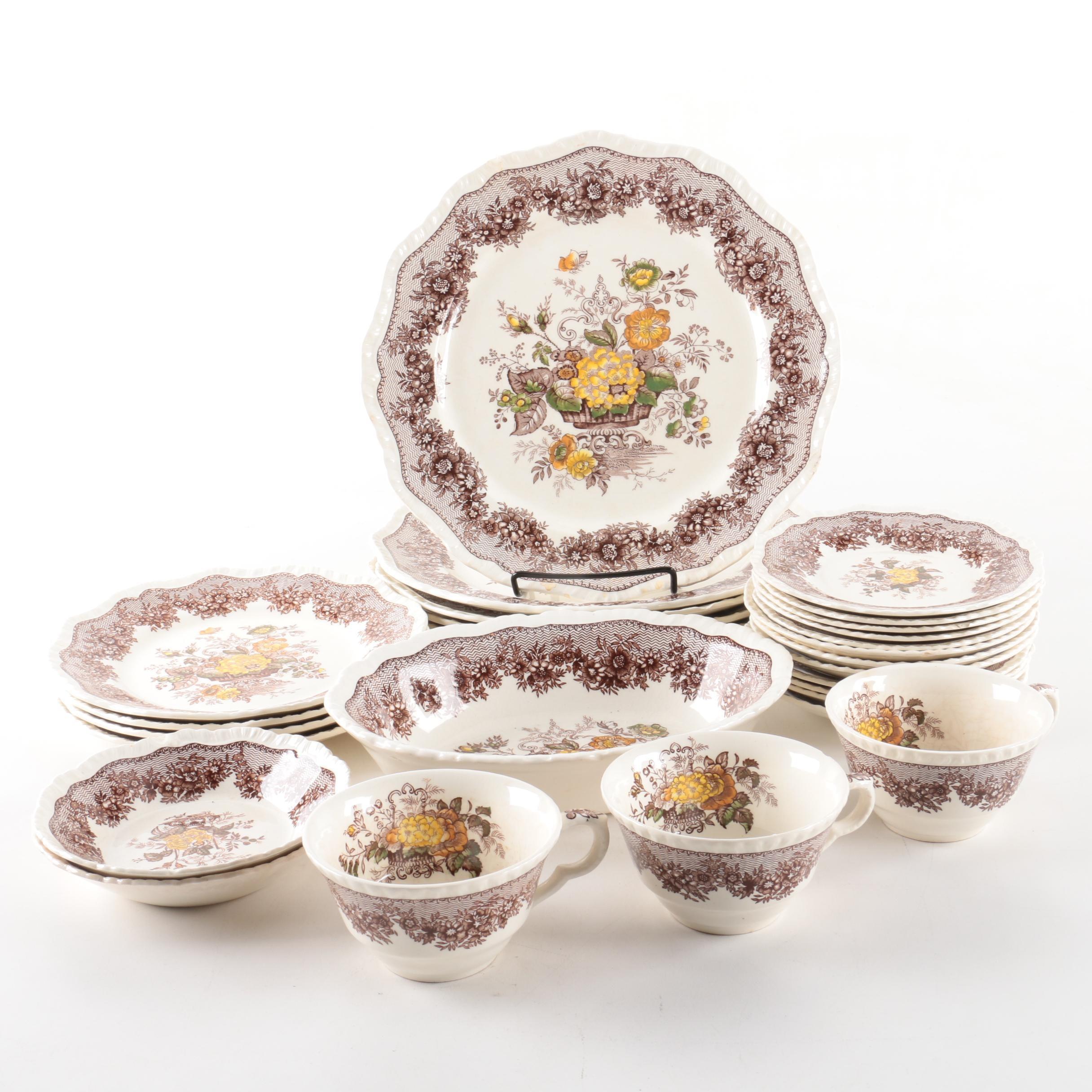"Vintage Mason's ""Ascot Brown Multicolor"" Dinnerware"