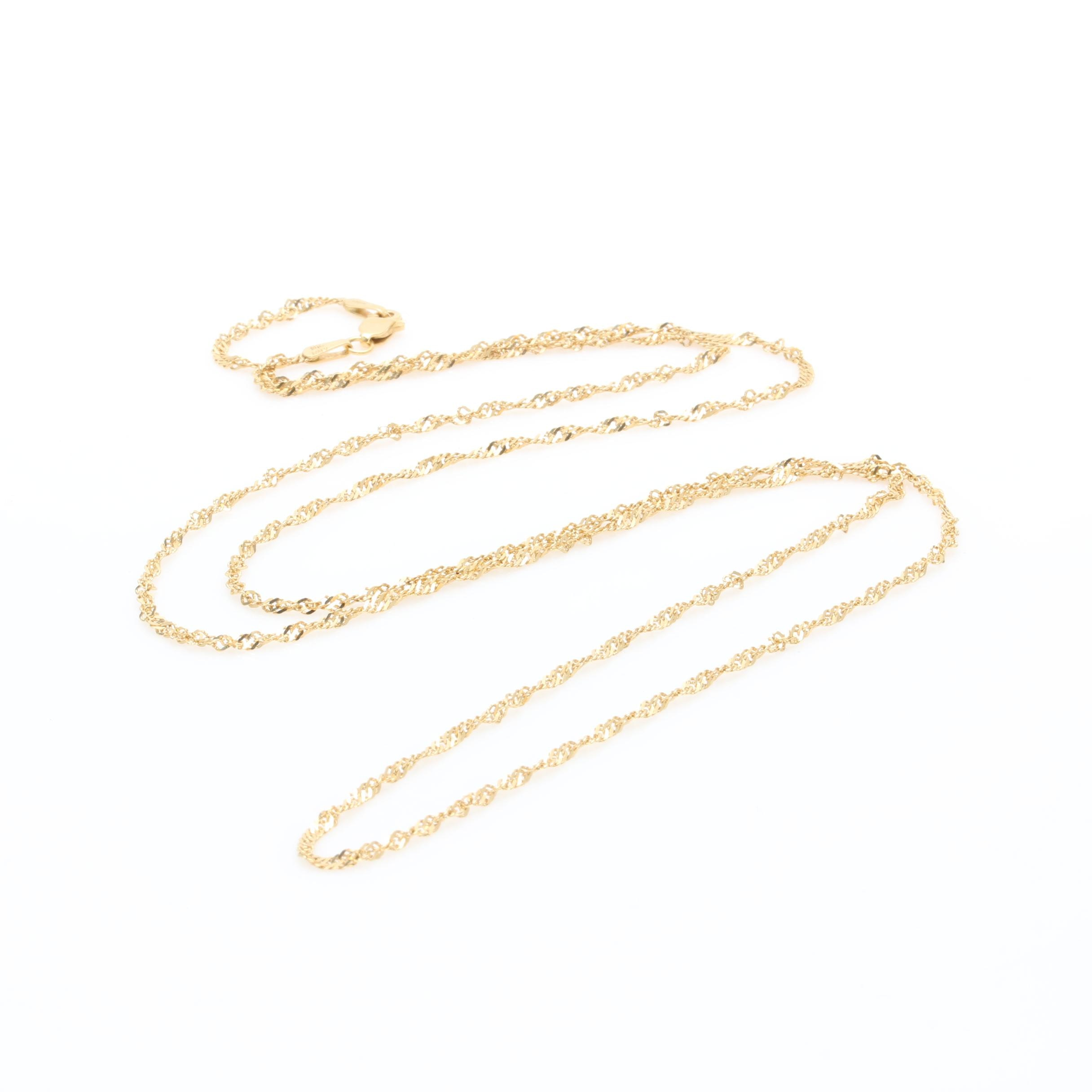 18K Yellow Gold Diamond Cut Rope Chain