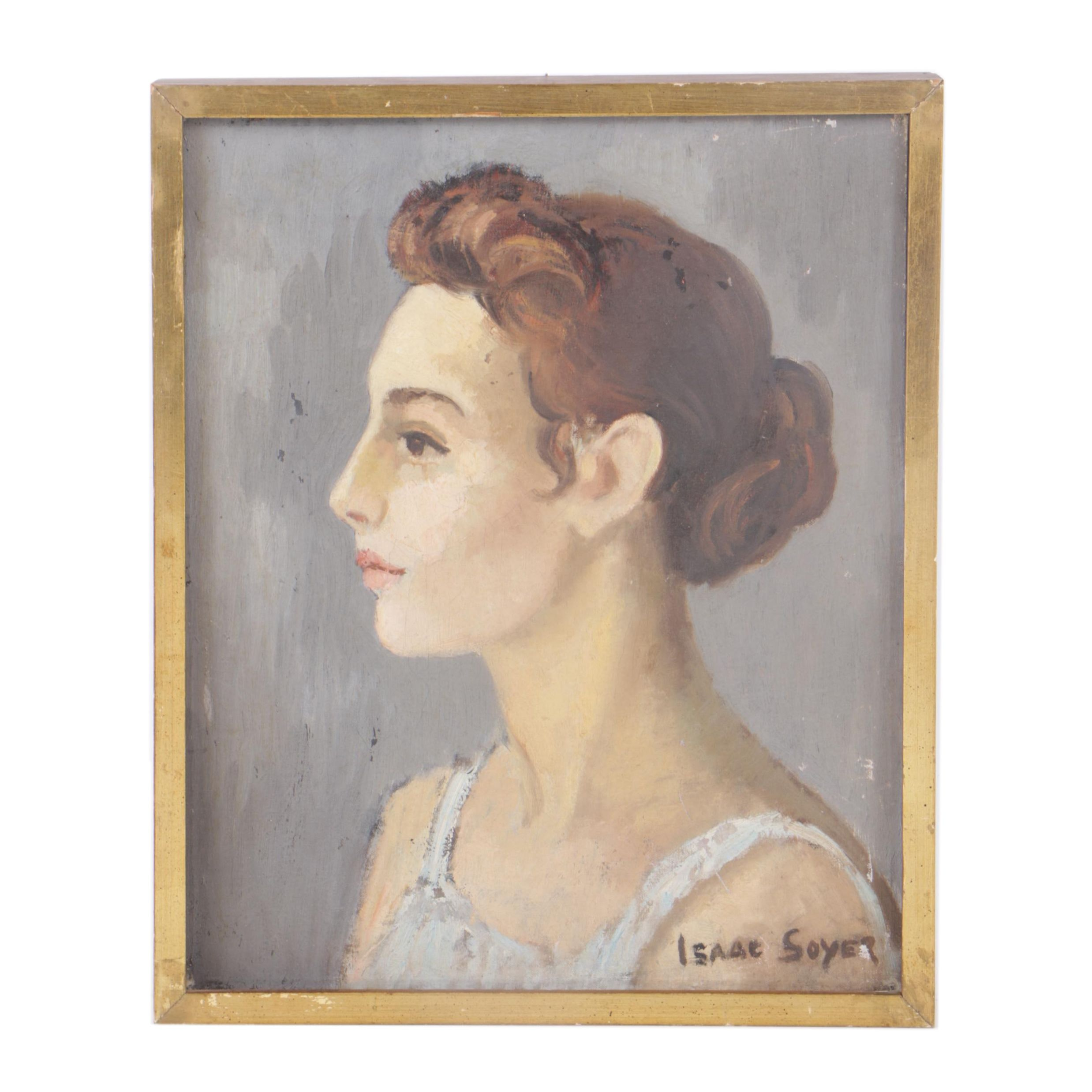 Isaac Soyer Oil Portrait on Canvas of Woman