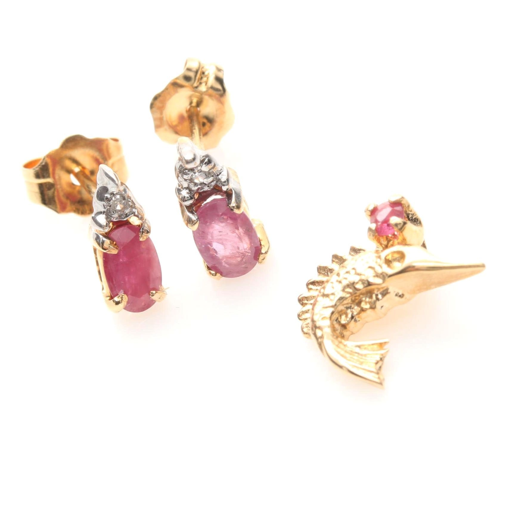 14K Yellow Gold Ruby Pendant and Earrings Including Diamonds