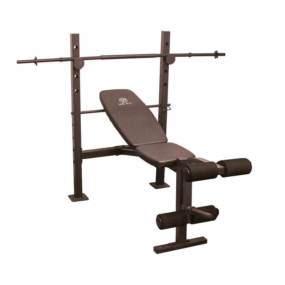 Gold's Gym XR 6.1 Weight Bench with Barbell