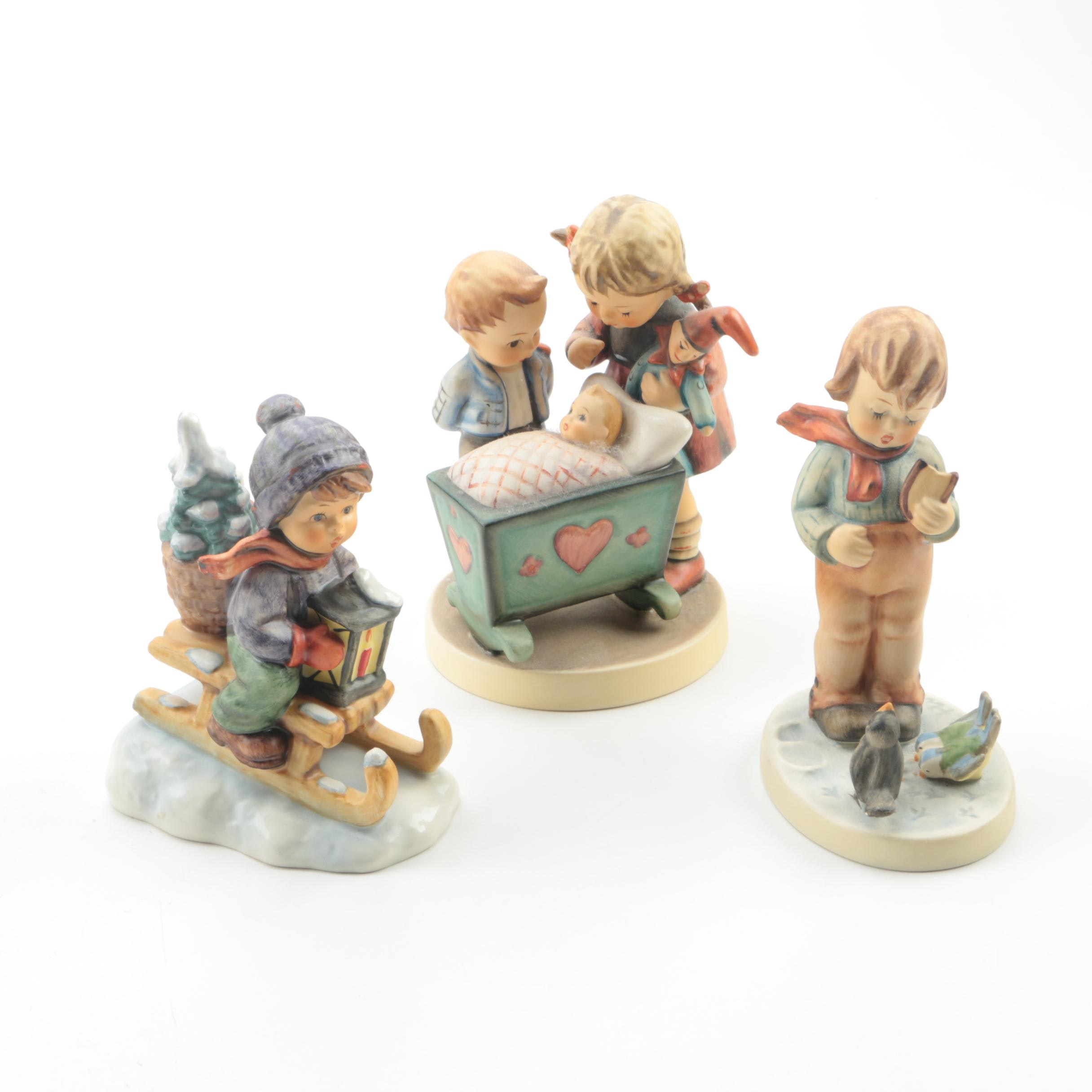 "Vintage Hummel Porcelain Figurines Featuring ""Ride Into Christmas"""