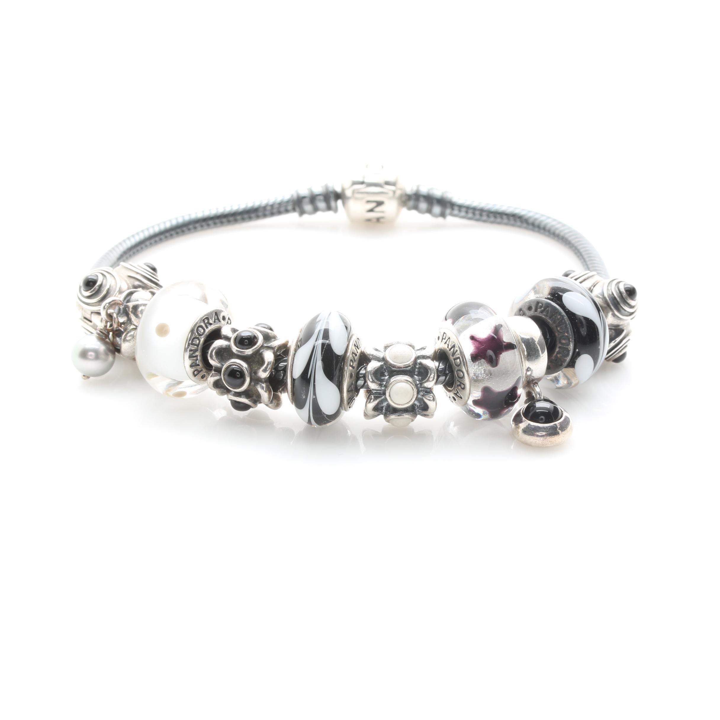 Pandora Sterling Silver Black and White Onyx Charm Bracelet