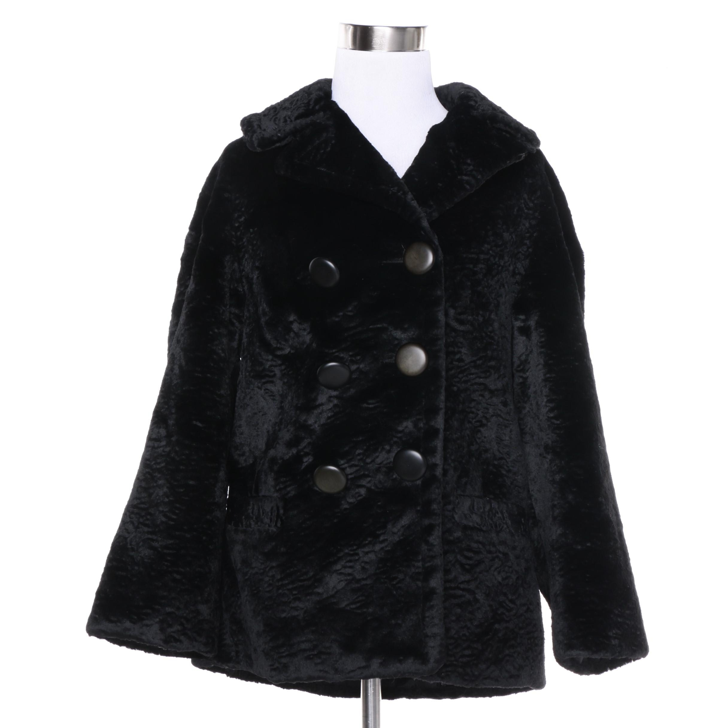 Women's Vintage Double-Breasted Black Faux Broadtail Coat