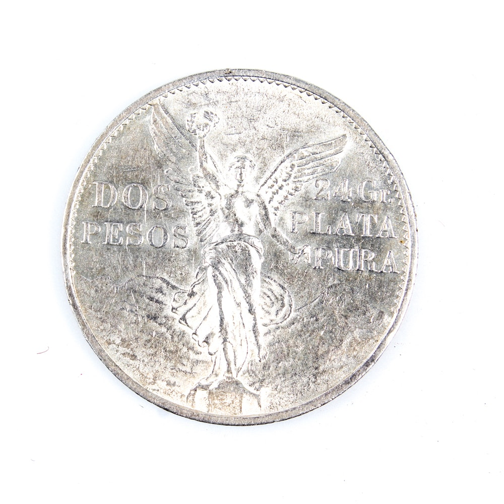 1921 Mexico Centennial of Independence Two Pesos Silver Coin