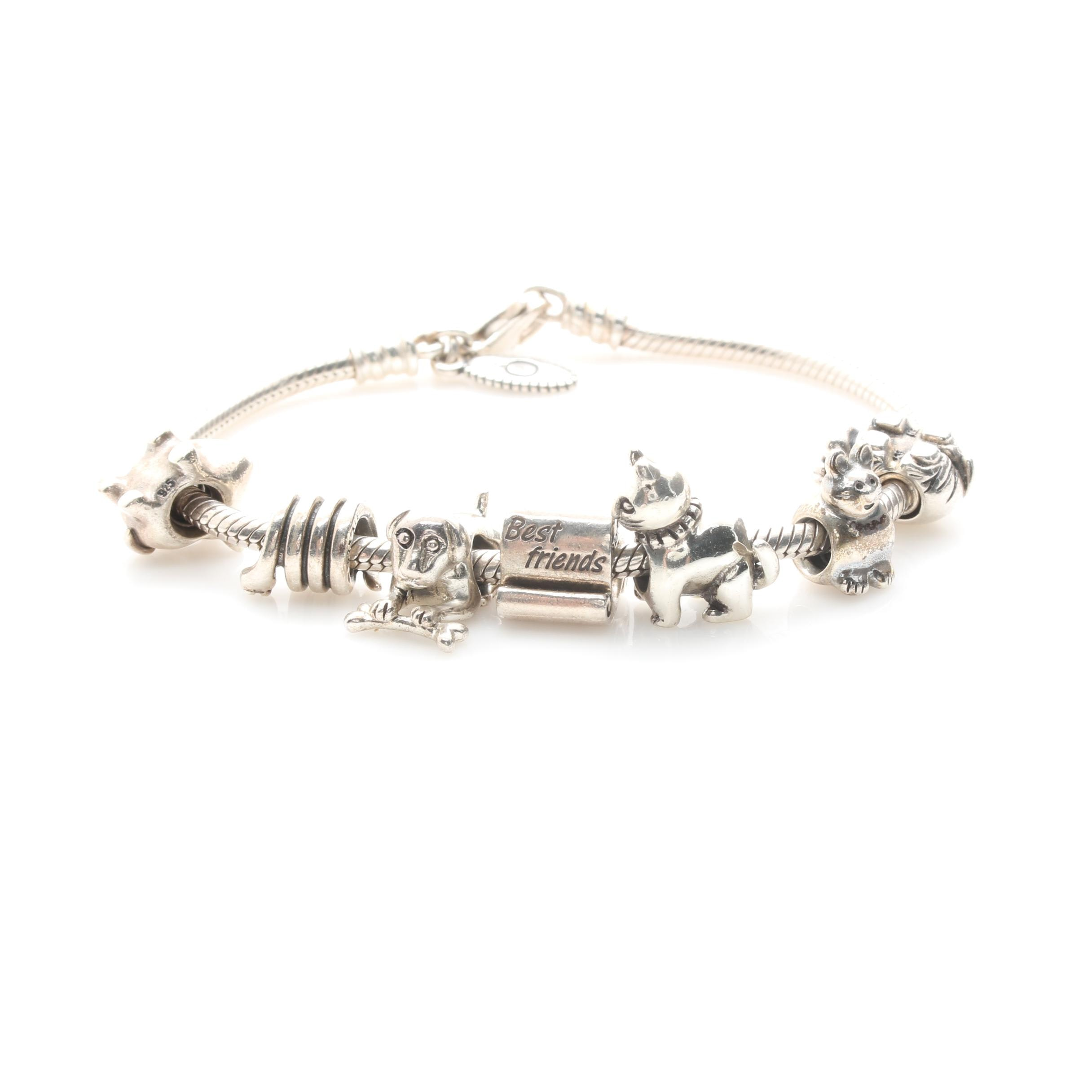 Pandora Sterling Silver Bracelet with Several Charms