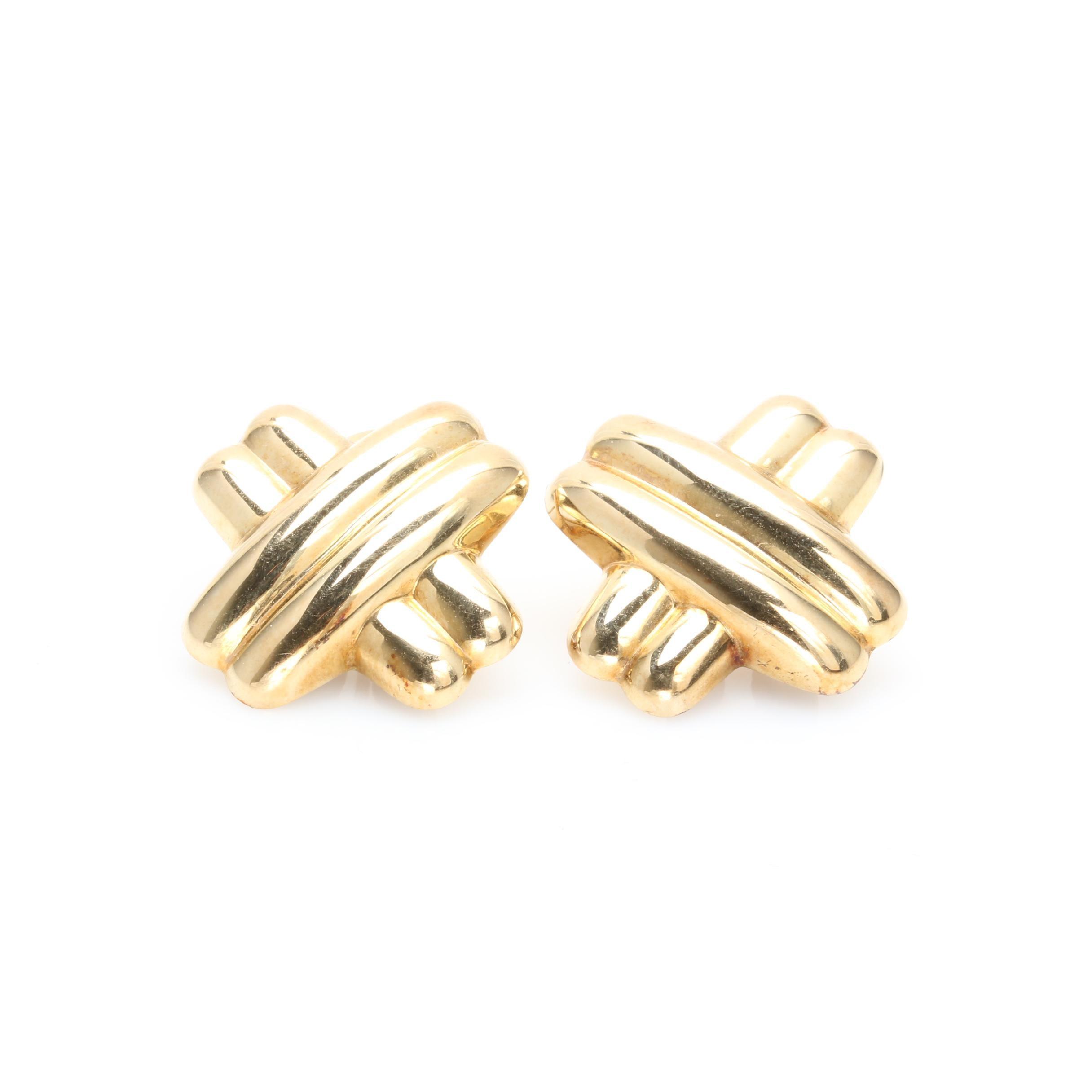 "14K Yellow Gold ""X"" Post Earrings"