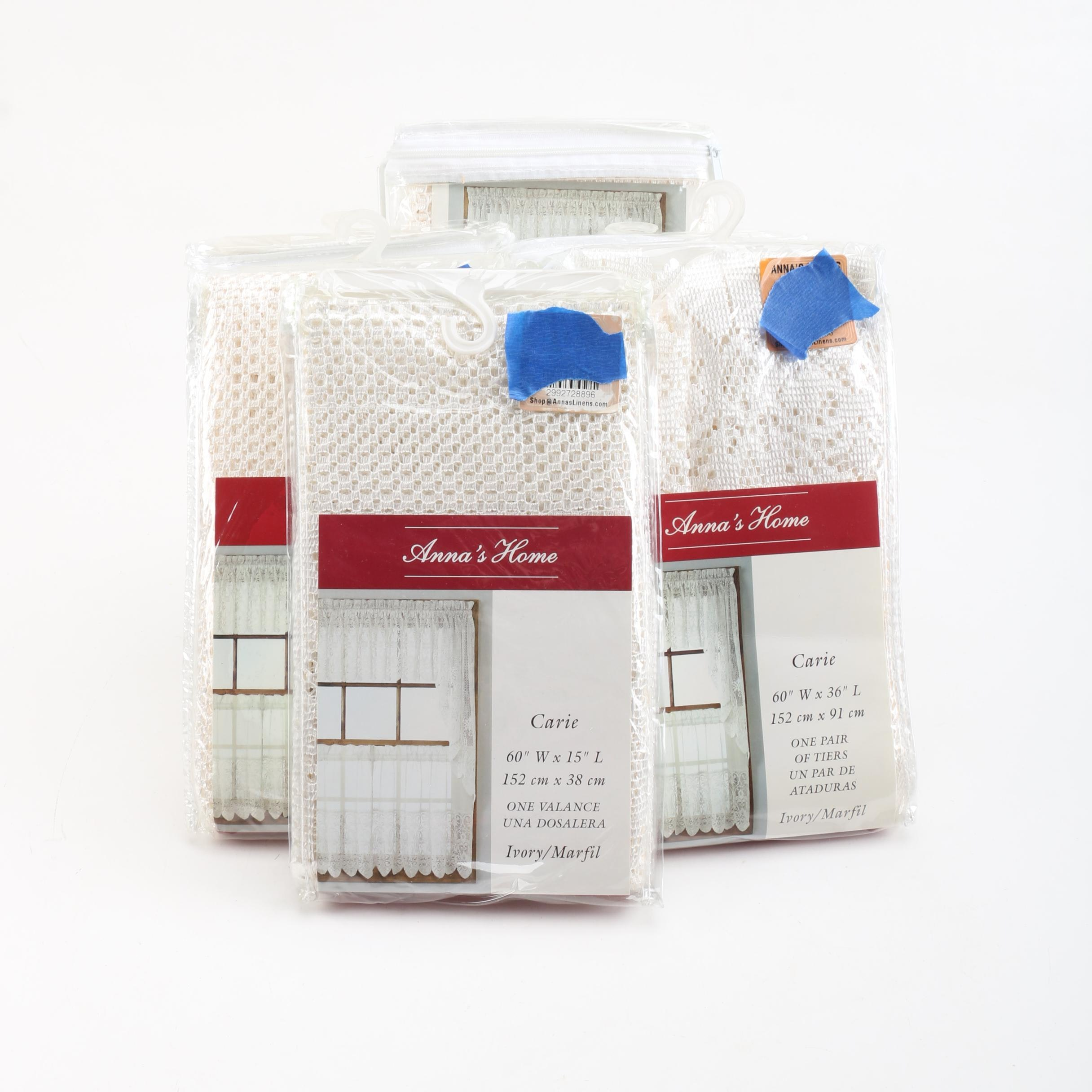 "Anna's Home ""Carie"" Ivory Lace Window Valences"