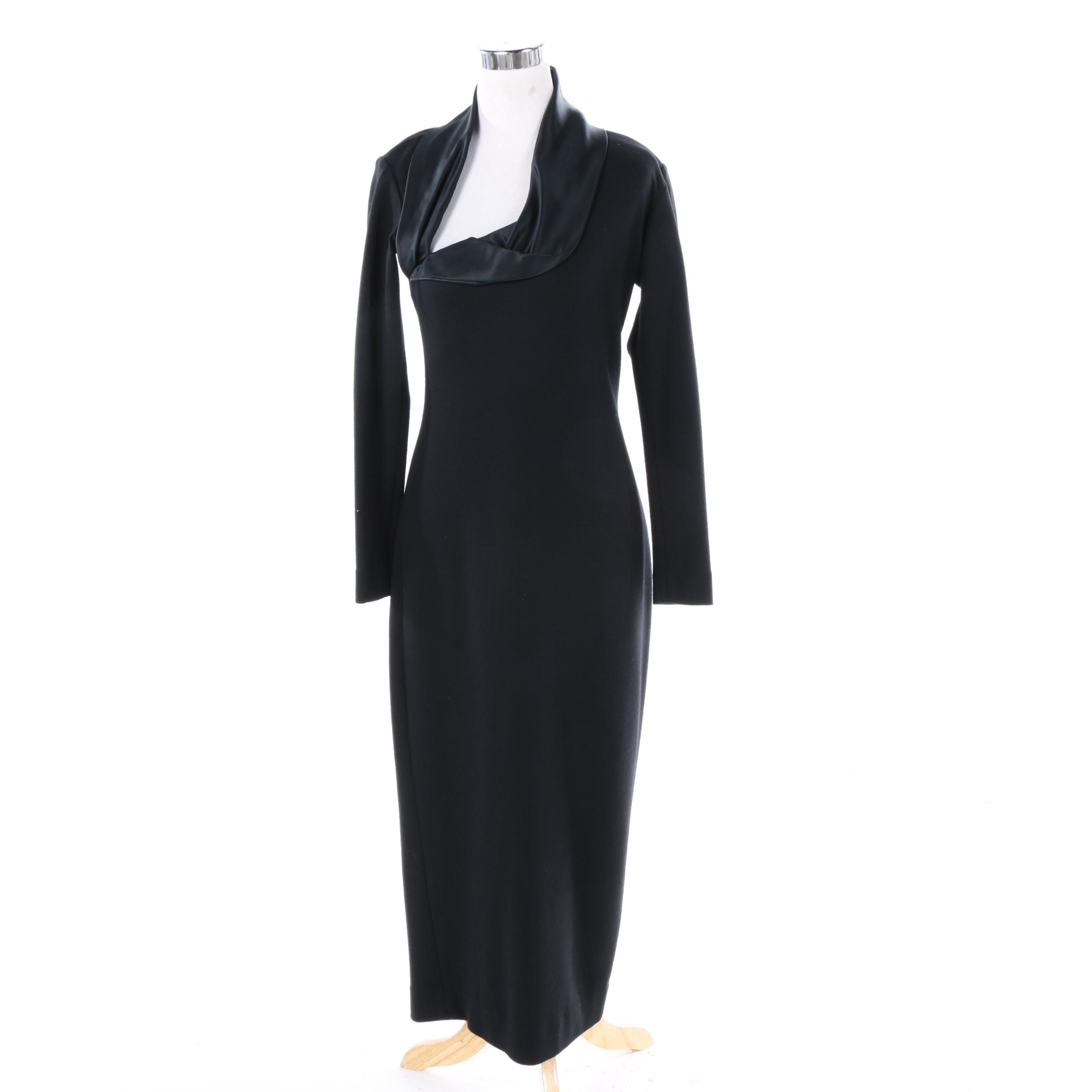 Joseph Abboud Black Knit Dress with Satin Trim