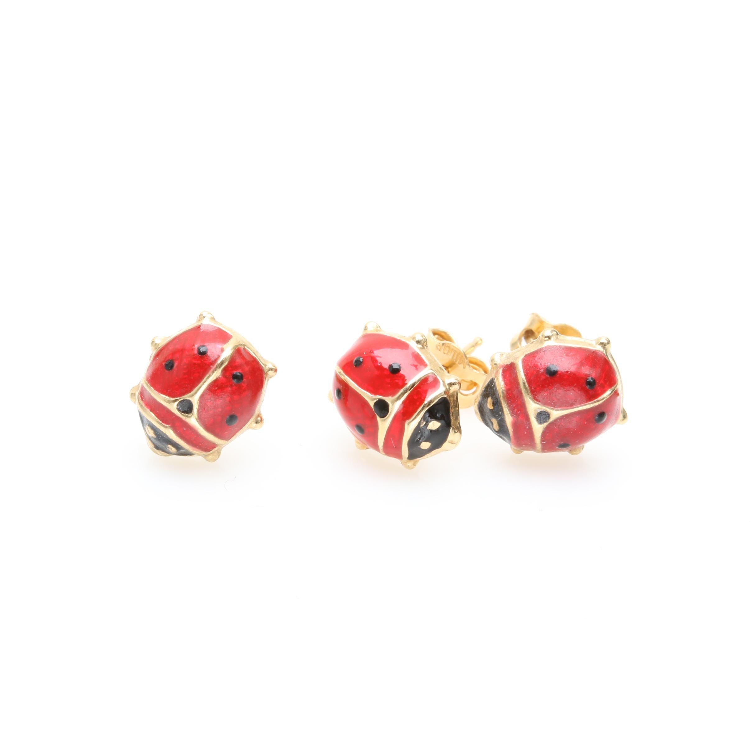 18K Yellow Gold Enamel Ladybug Earrings