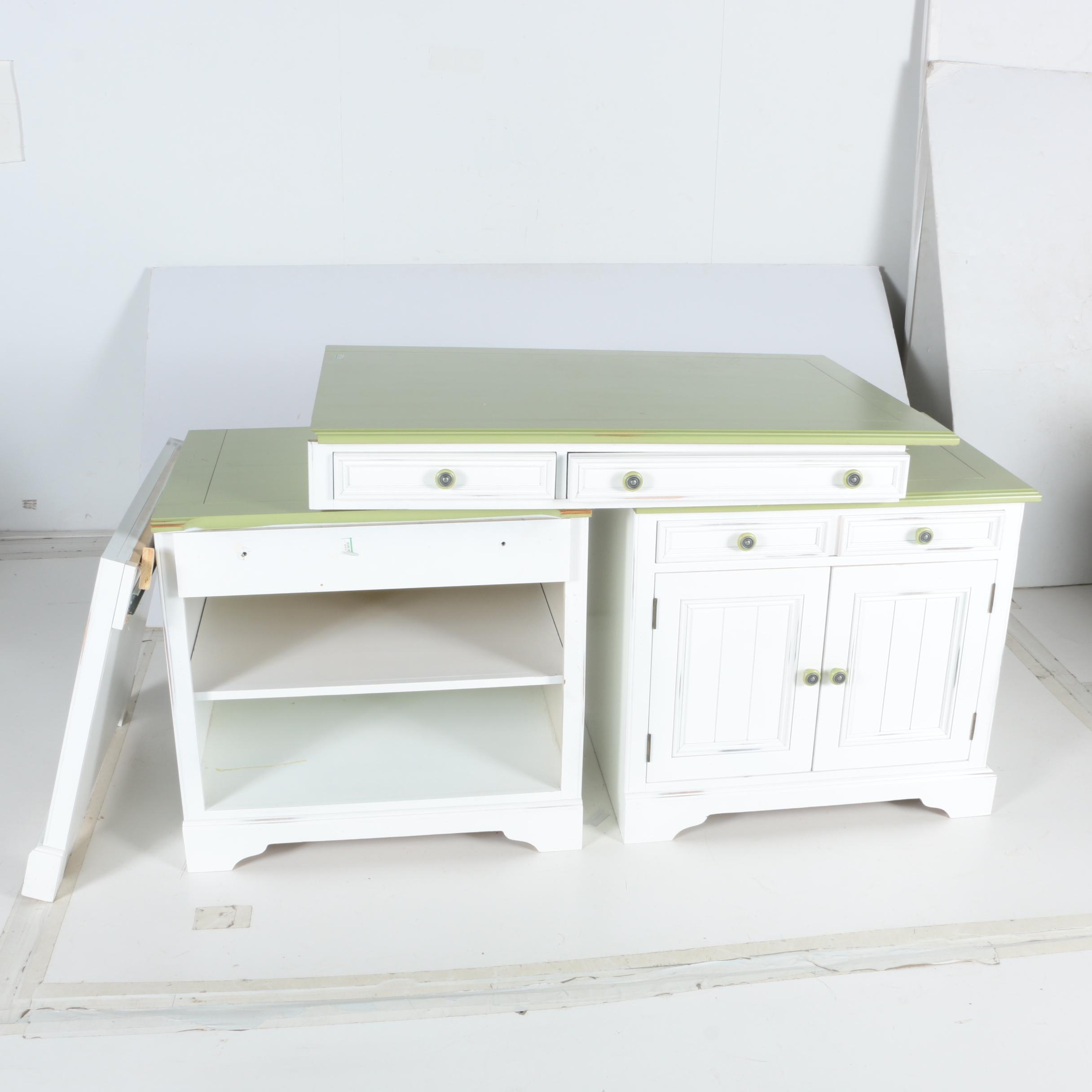 white and green wooden corner desk
