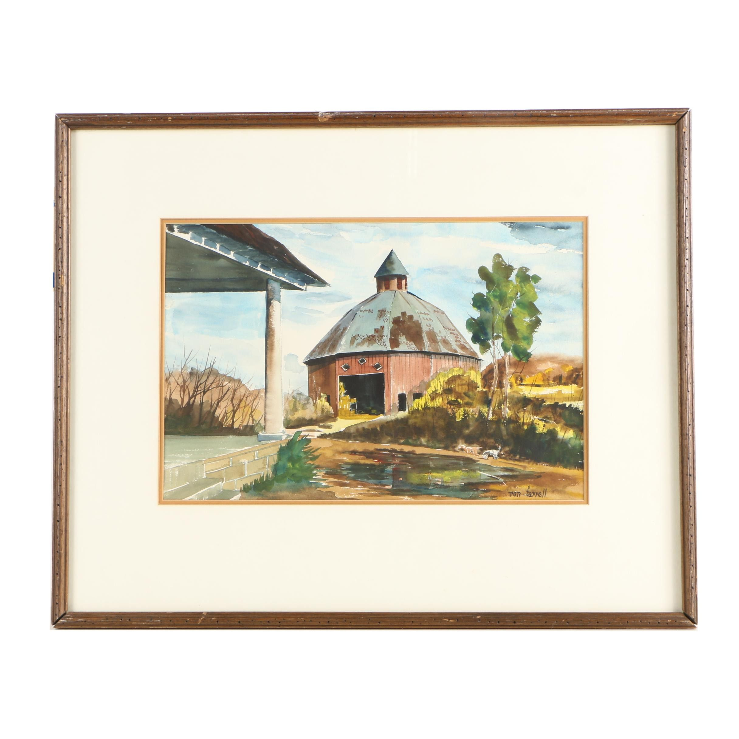 Ron Farrell Watercolor Painting of Rural Landscape with Round Barn