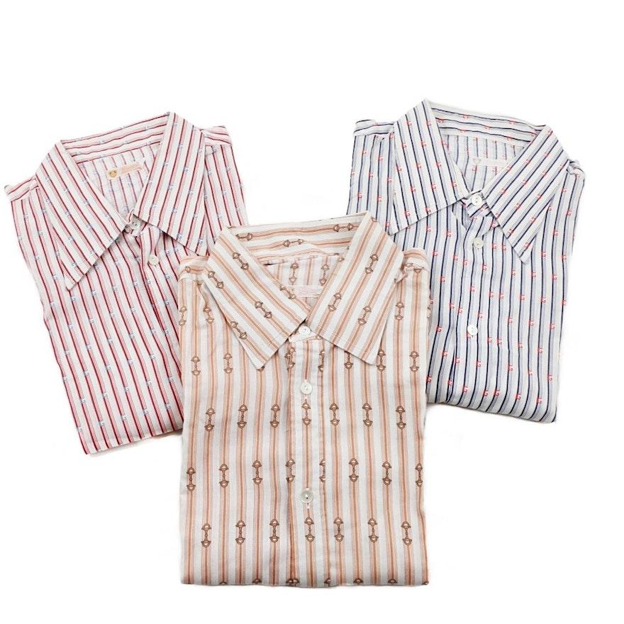 Three Gucci Vintage Cotton Mens Shirts