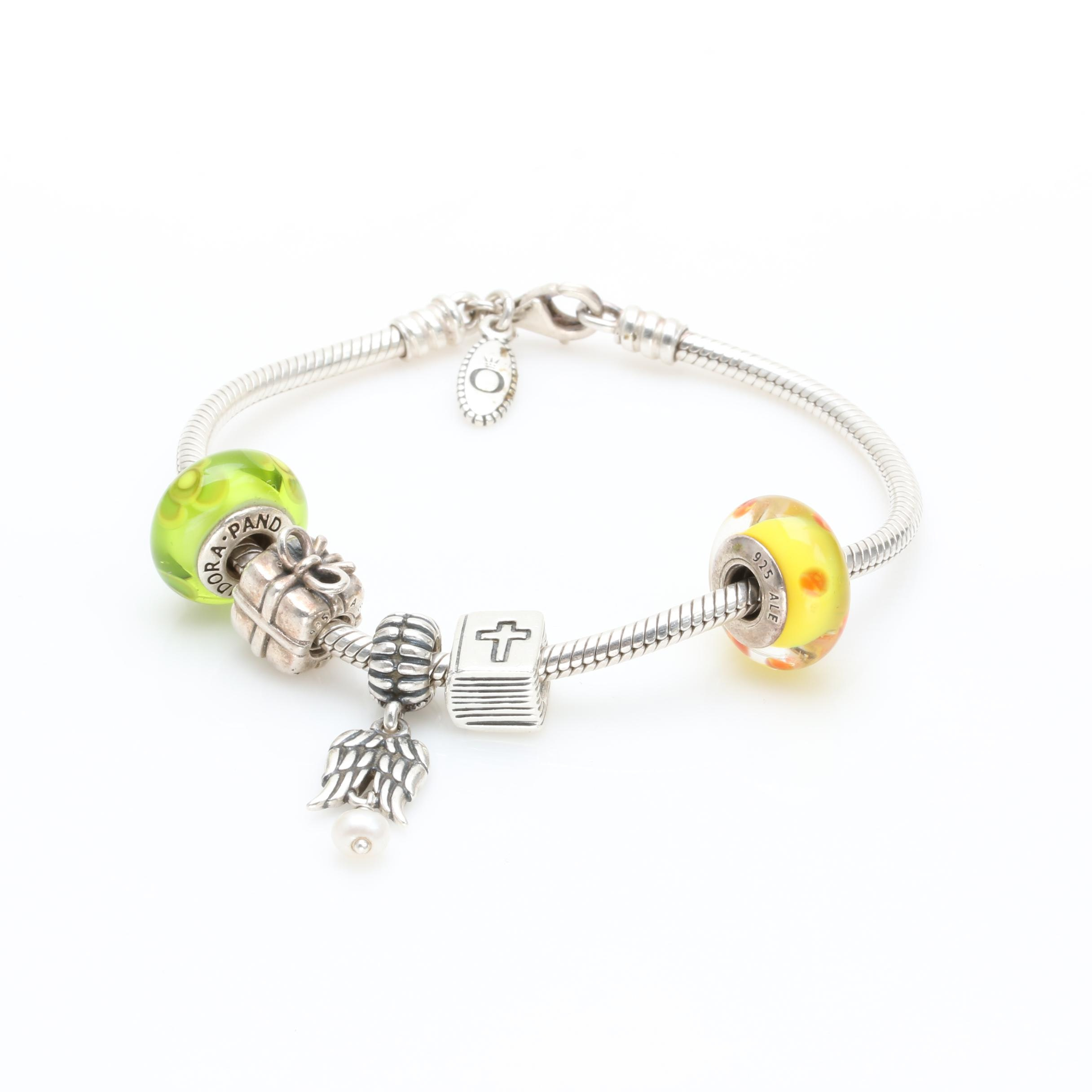 Pandora Sterling Silver Lampwork Glass and Cultured Pearl Charm Bracelet